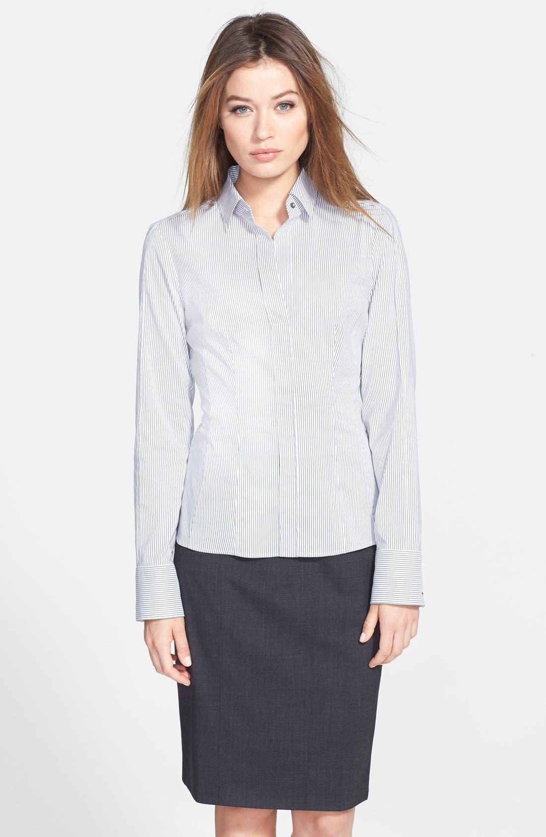 Main Image - BOSS 'Bashina' Fitted Cotton Blend Pinstripe V-Neck Blouse