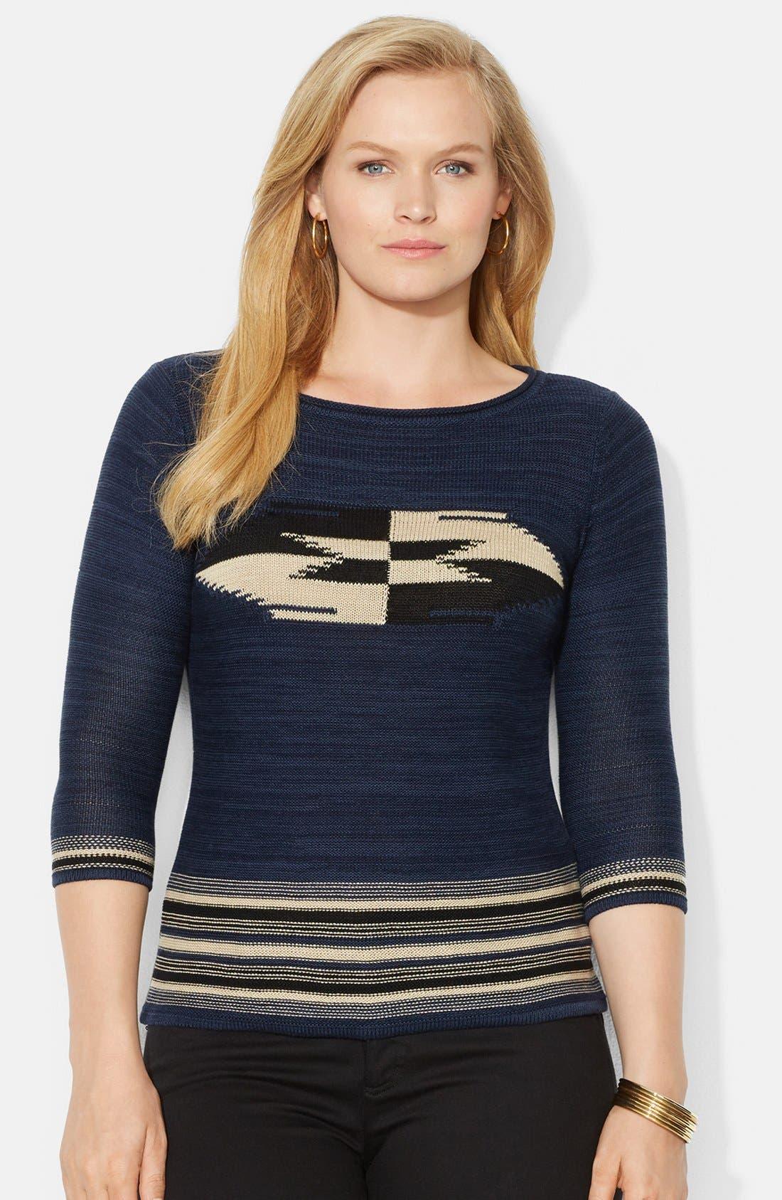 Main Image - Lauren Ralph Lauren Ballet Neck Patterned Sweater (Plus Size)