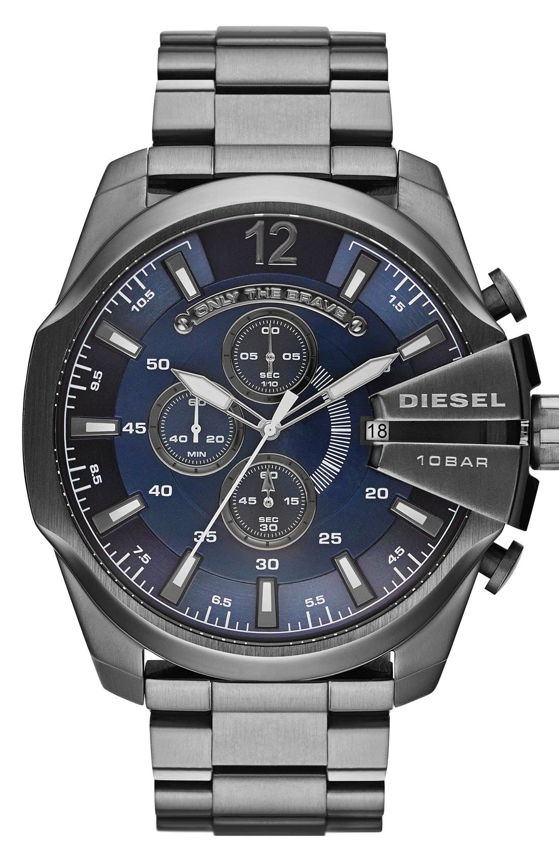 Alternate Image 1 Selected - DIESEL® 'Mega Chief' Chronograph Bracelet Watch, 51mm