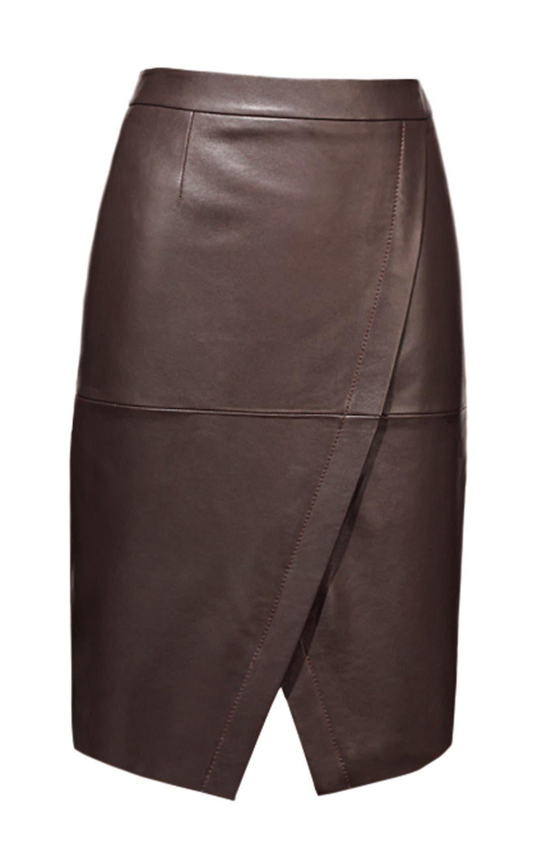 Alternate Image 4  - Halogen® Seamed Leather Pencil Skirt (Regular & Petite)