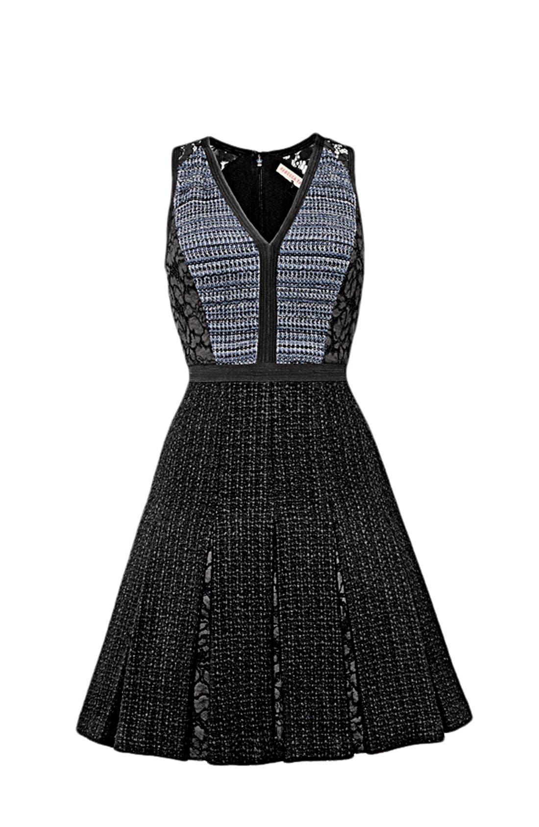 Alternate Image 5  - Rebecca Taylor Lace & Tweed A-Line Dress