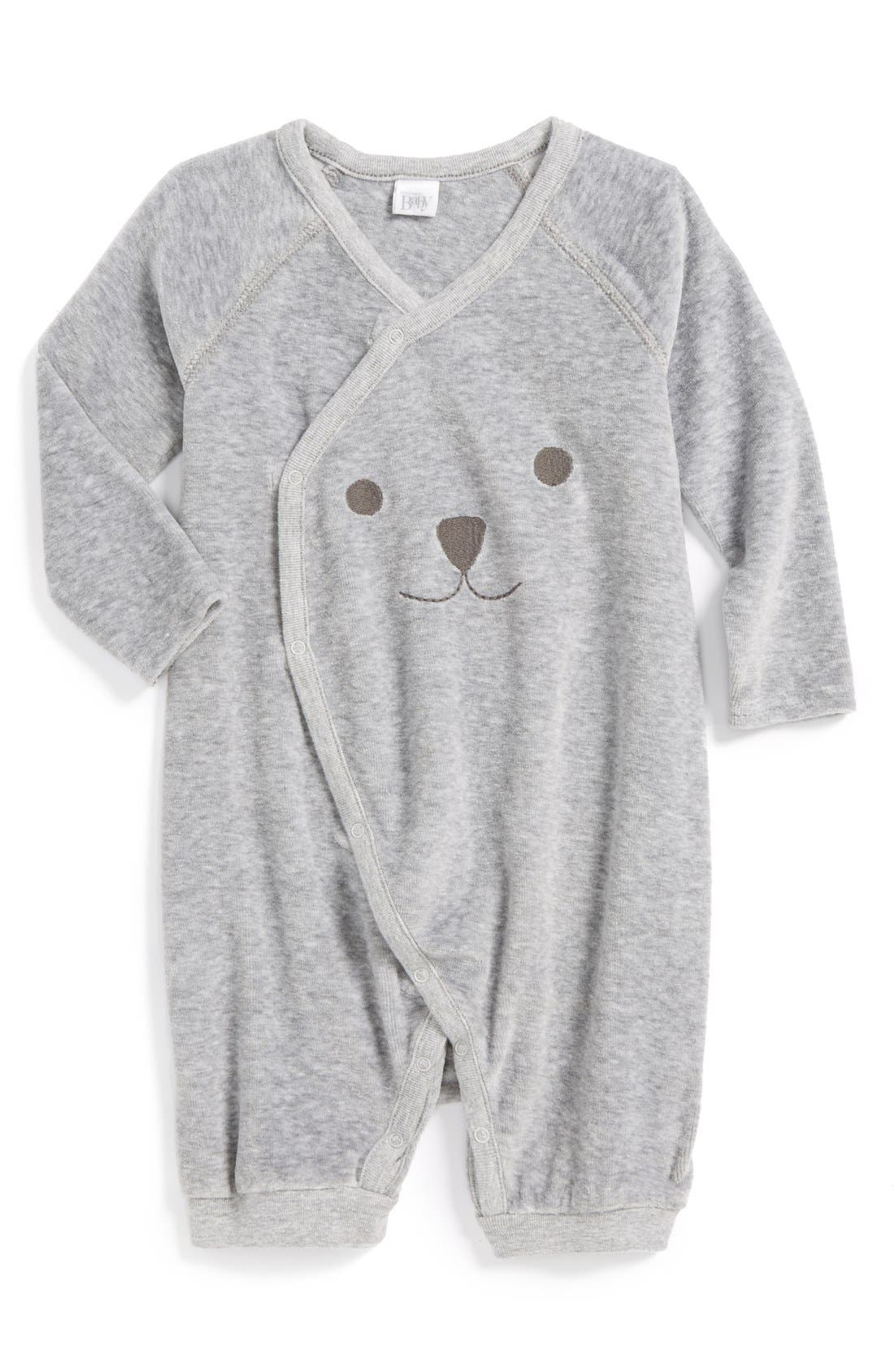 Main Image - Nordstrom Baby Velour Wrap Romper (Baby) (Nordstrom Exclusive)