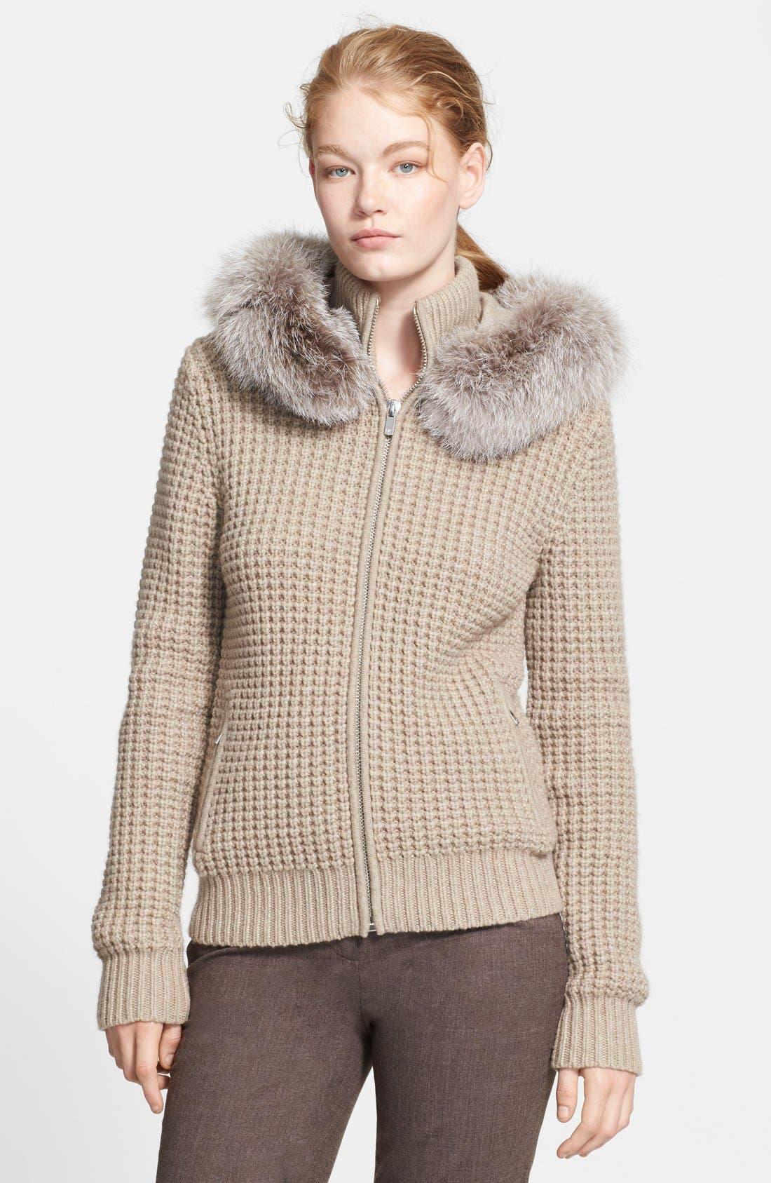 Main Image - Michael Kors Zip Front Cashmere Hoodie with Genuine Fox Fur Trim