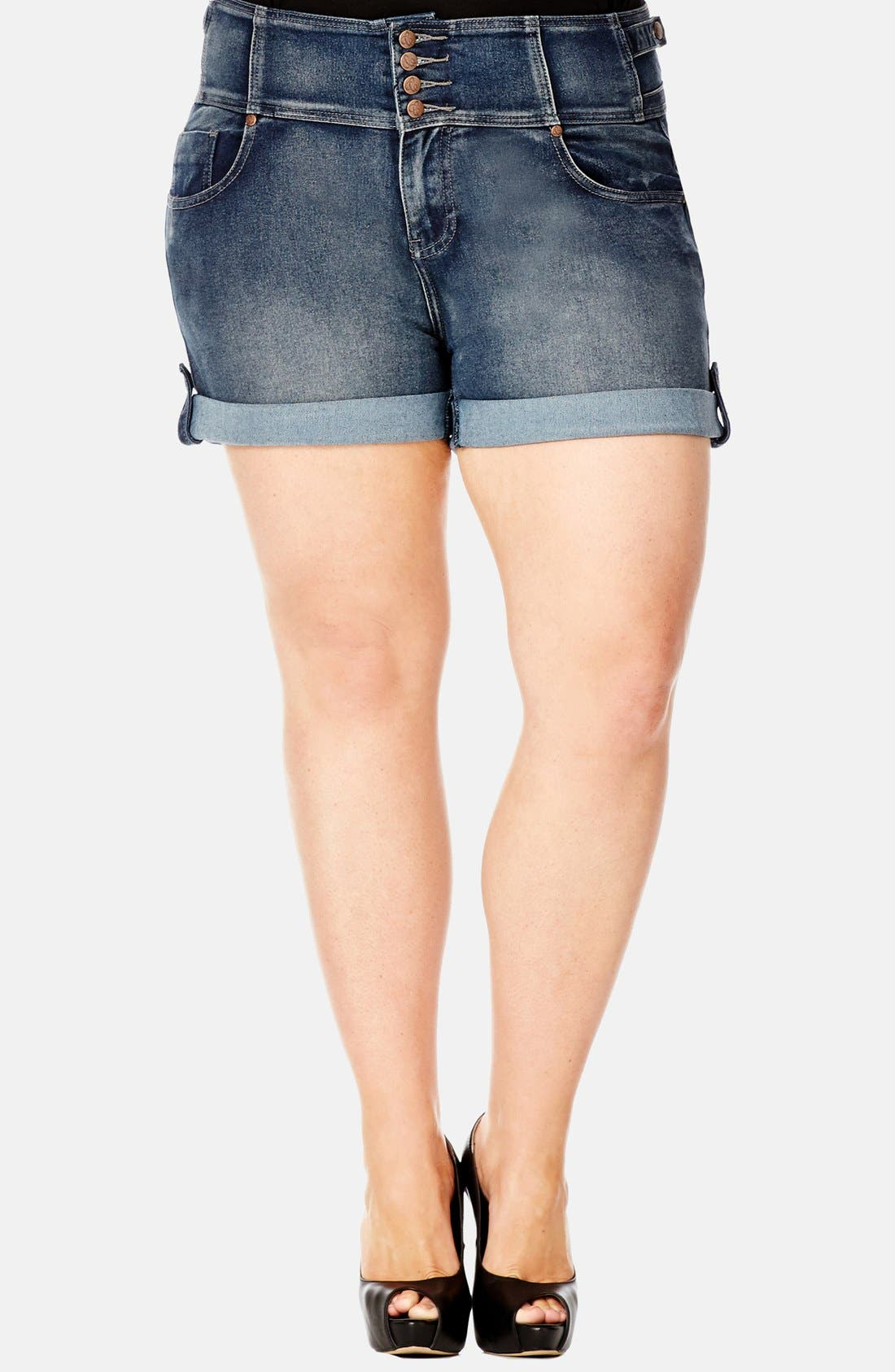 Alternate Image 1 Selected - City Chic High Waist Stretch Denim Shorts (Dark) (Plus Size)