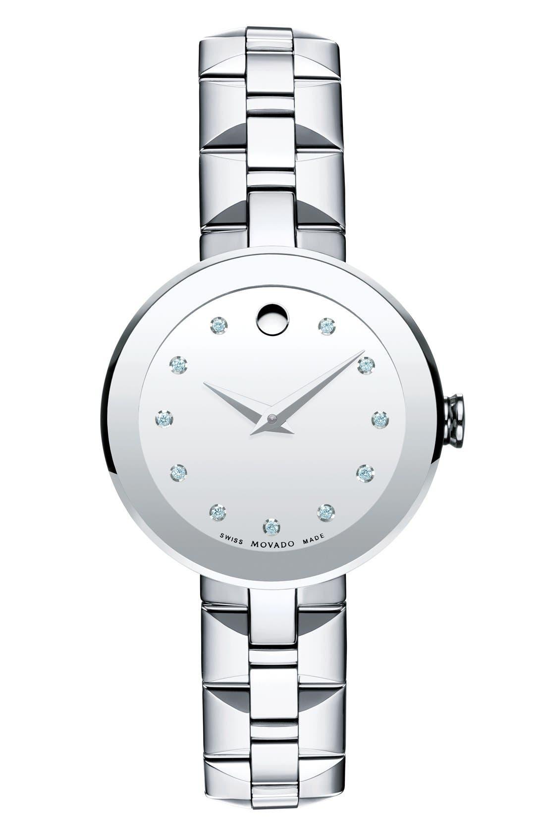 MOVADO Sapphire Diamond Index Bracelet Watch, 28mm