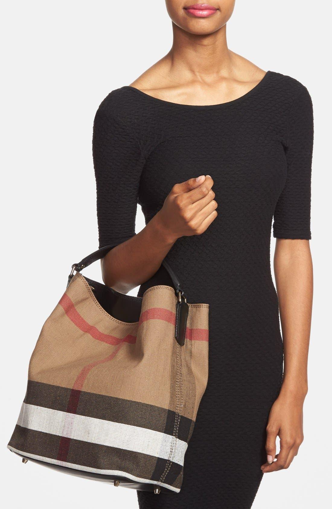 Medium Susanna Check Print Bucket Bag,                             Alternate thumbnail 2, color,                             Black
