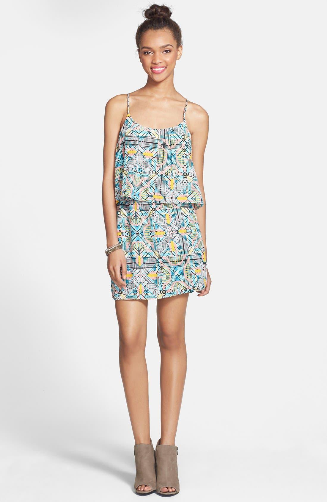 Alternate Image 1 Selected - Everly Print Popover Dress (Juniors)
