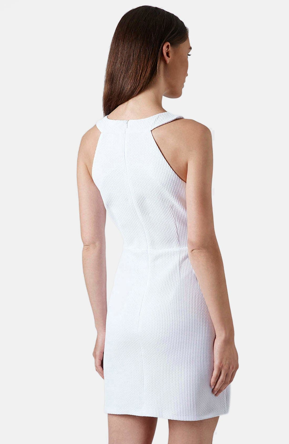 Alternate Image 2  - Topshop Cutout Textured Skater Dress