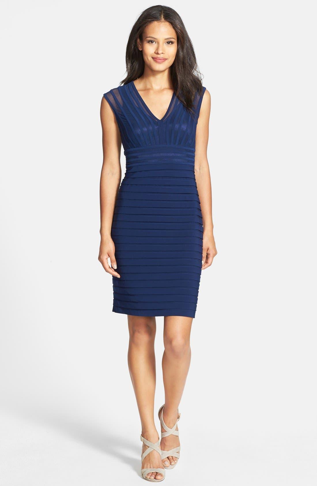 Alternate Image 3  - Adrianna Papell Shutter Pleat Jersey Sheath Dress (Regular & Petite)