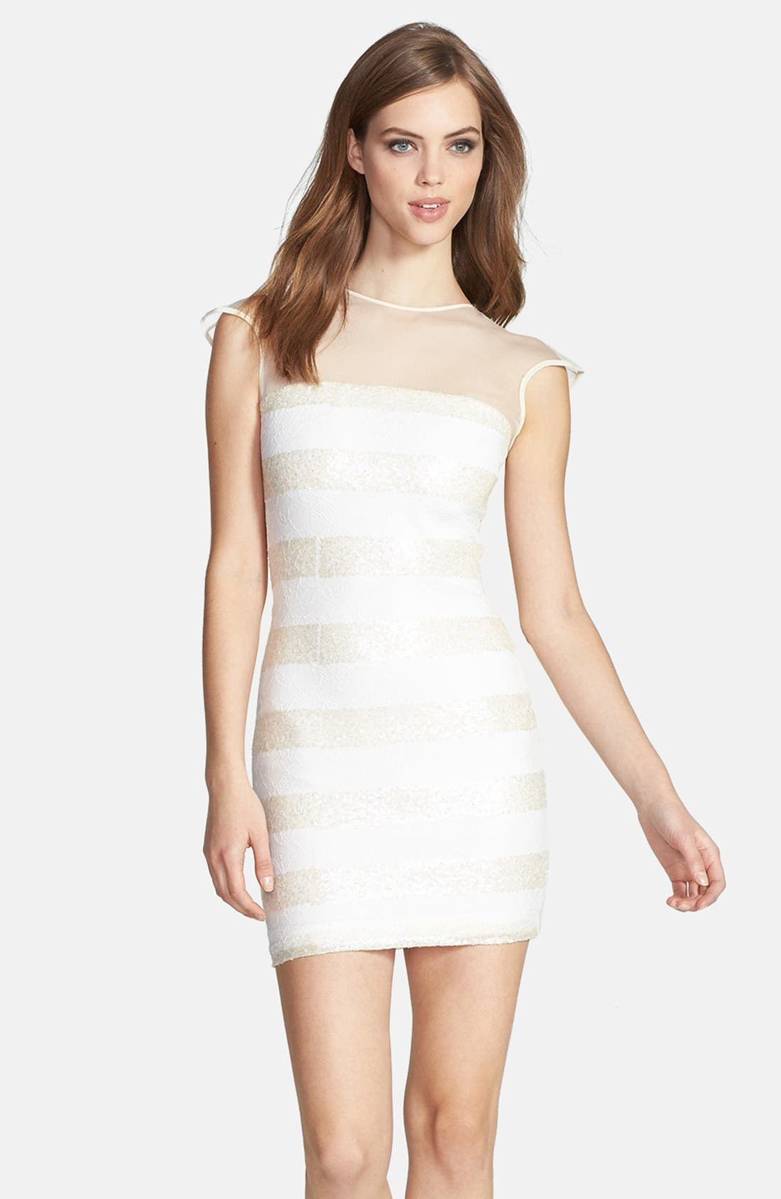 Main Image - Dress the Population 'Aubrey' Sequin Stripe Lace Body-Con Dress
