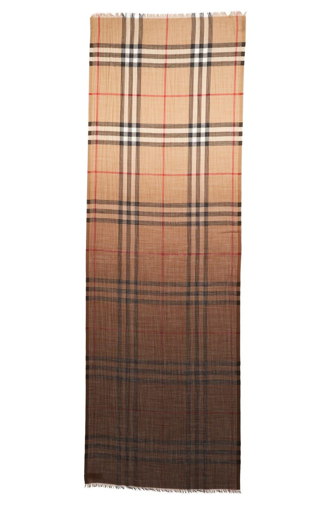 BURBERRY Ombré Check Wool & Silk Scarf
