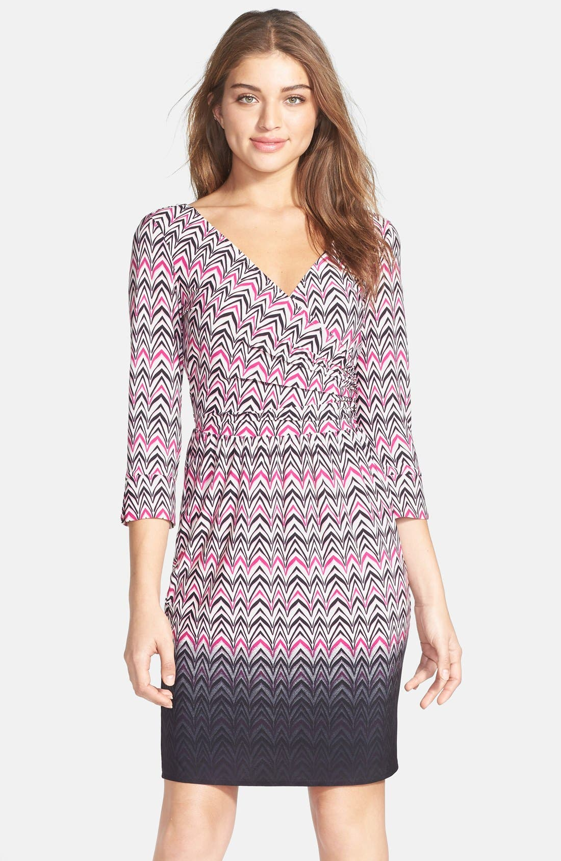 Main Image - Maggy London Print Jersey Faux Wrap Dress