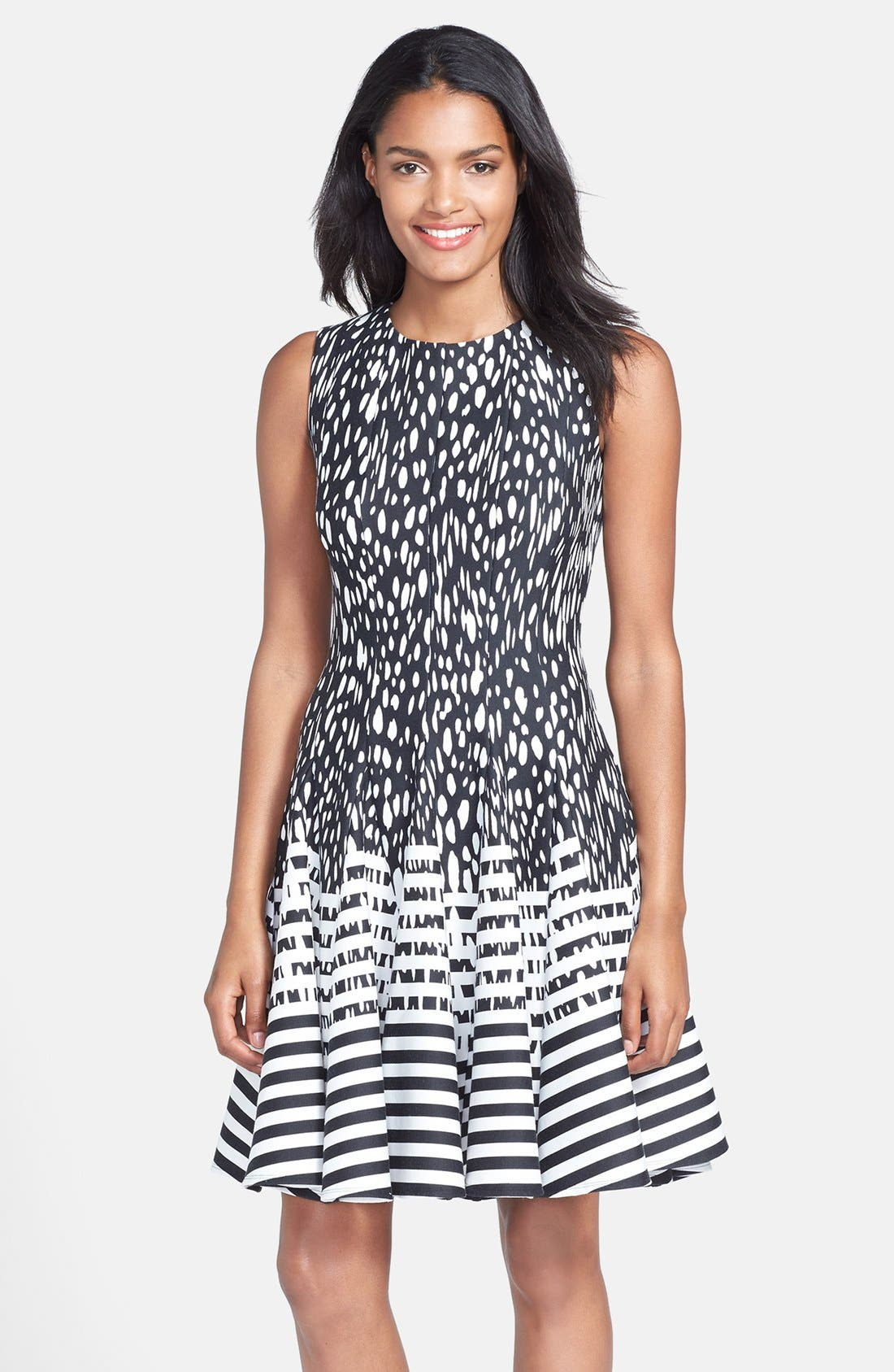 Main Image - Eliza J Mixed Print Ponte Fit & Flare Dress (Regular & Petite)