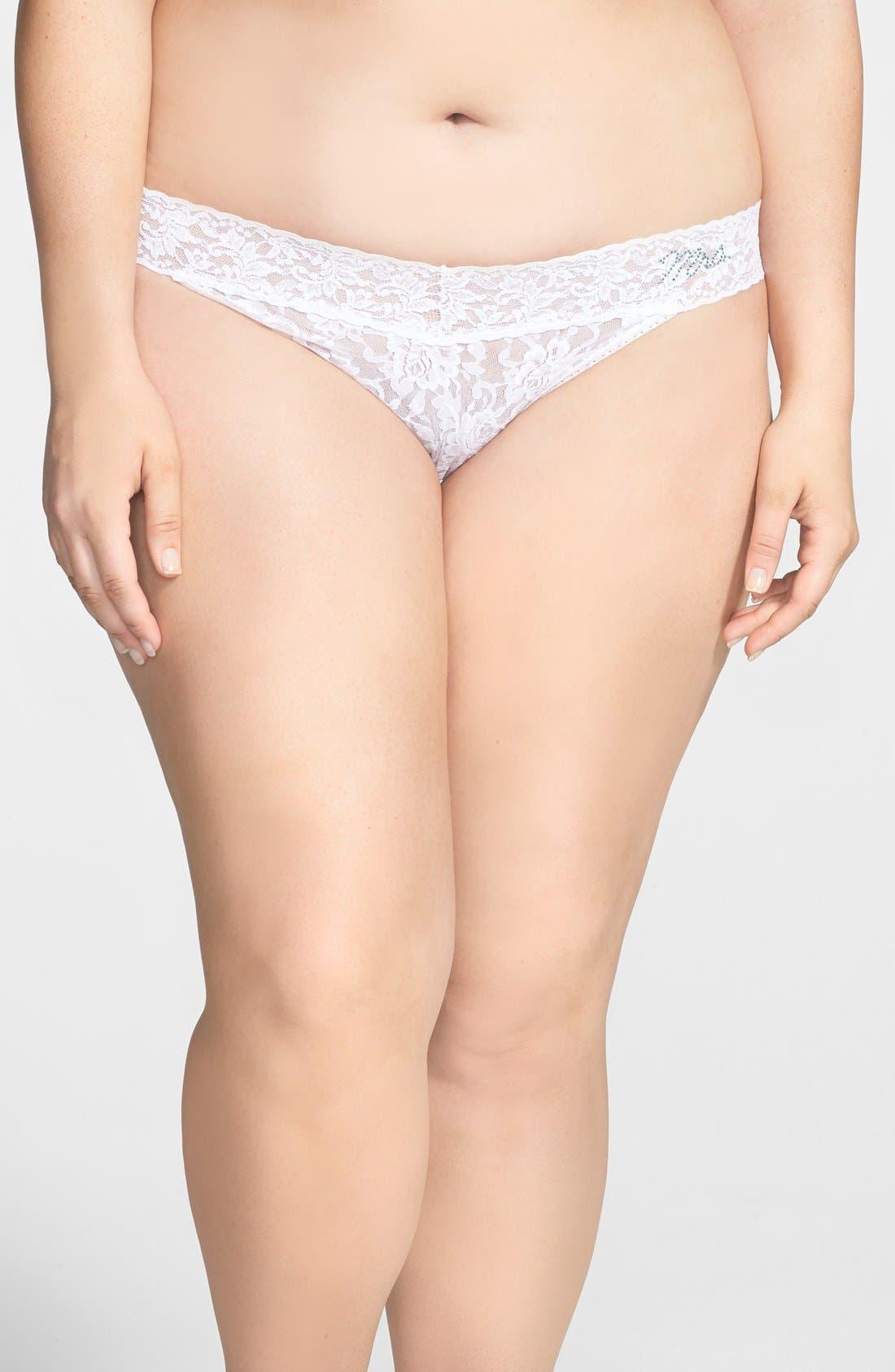 Main Image - Hanky Panky 'Signature Lace - Mrs.' Regular Rise Thong (Plus Size)