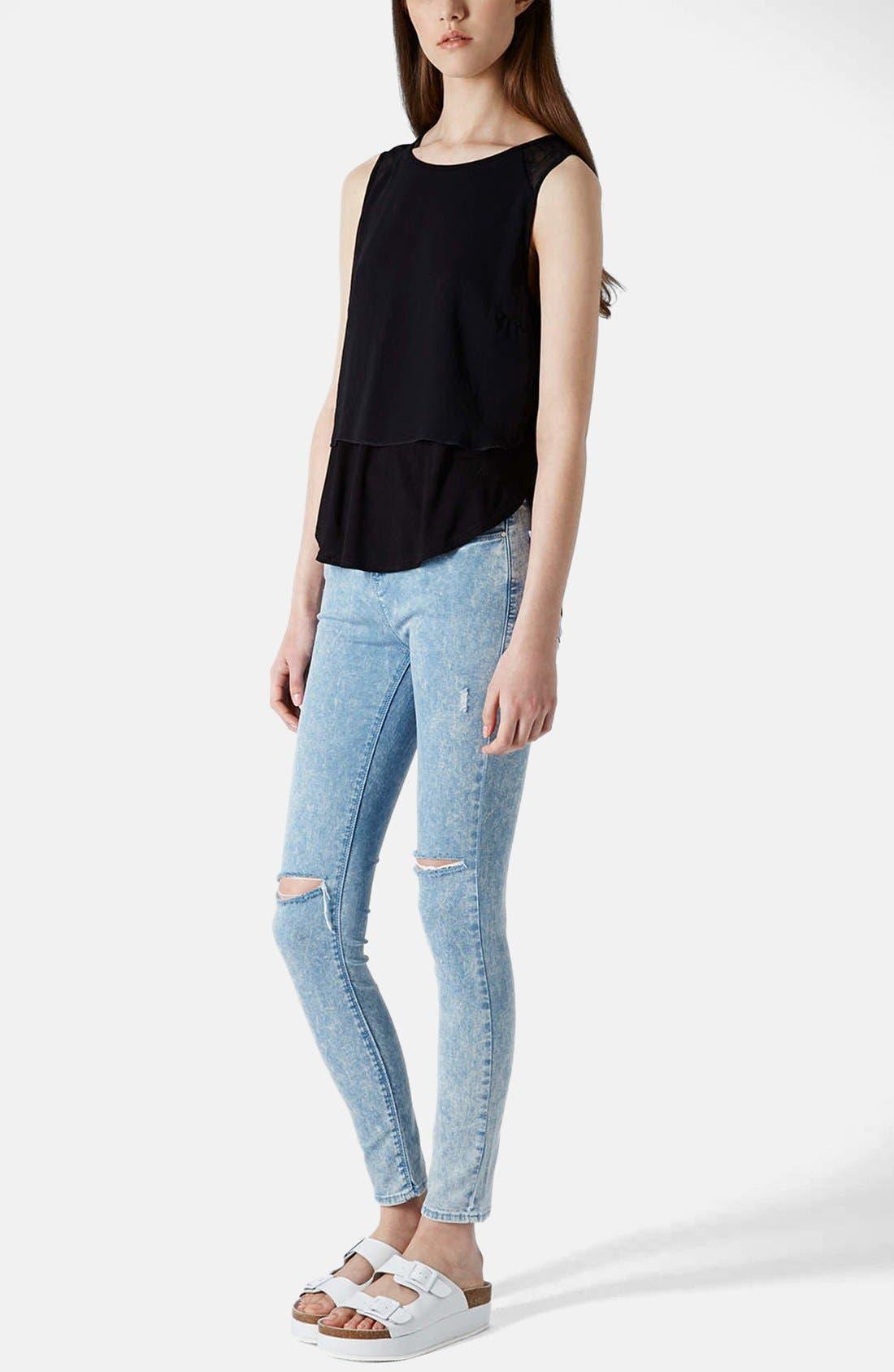 Alternate Image 5  - Topshop Moto 'Leigh' Acid Wash Ripped Skinny Jeans (Light Blue) (Regular & Short)