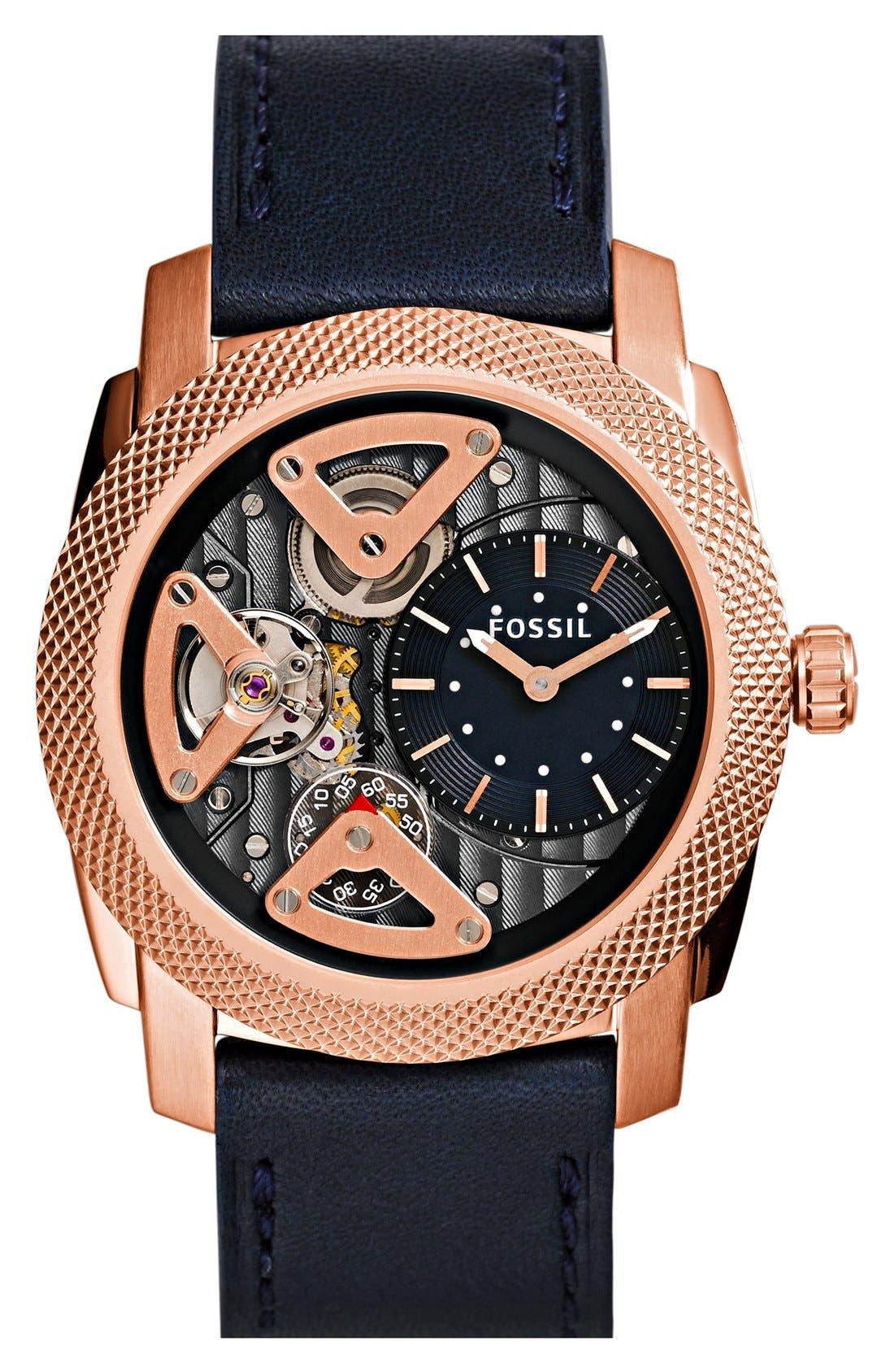 Main Image - Fossil 'Machine Twist' Leather Strap Watch, 45mm