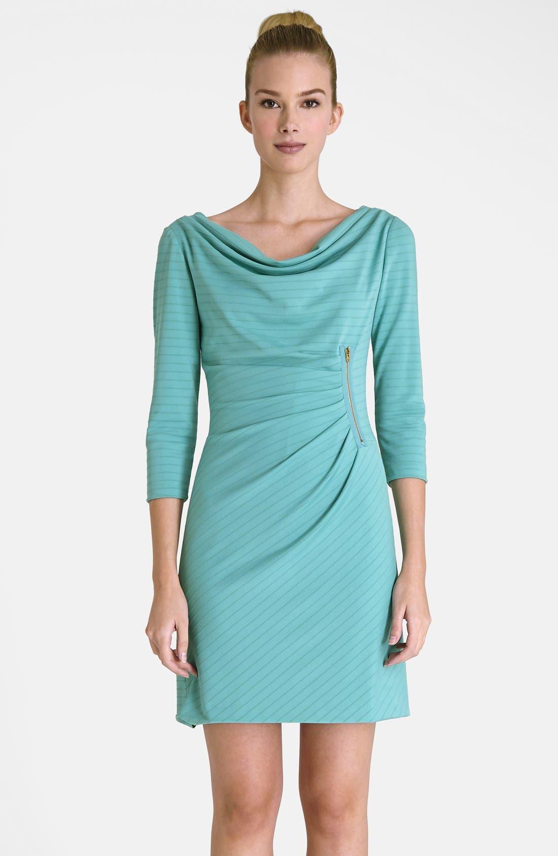 Main Image - Tahari Zip Detail Drape Neck Textured Matte Jersey Dress