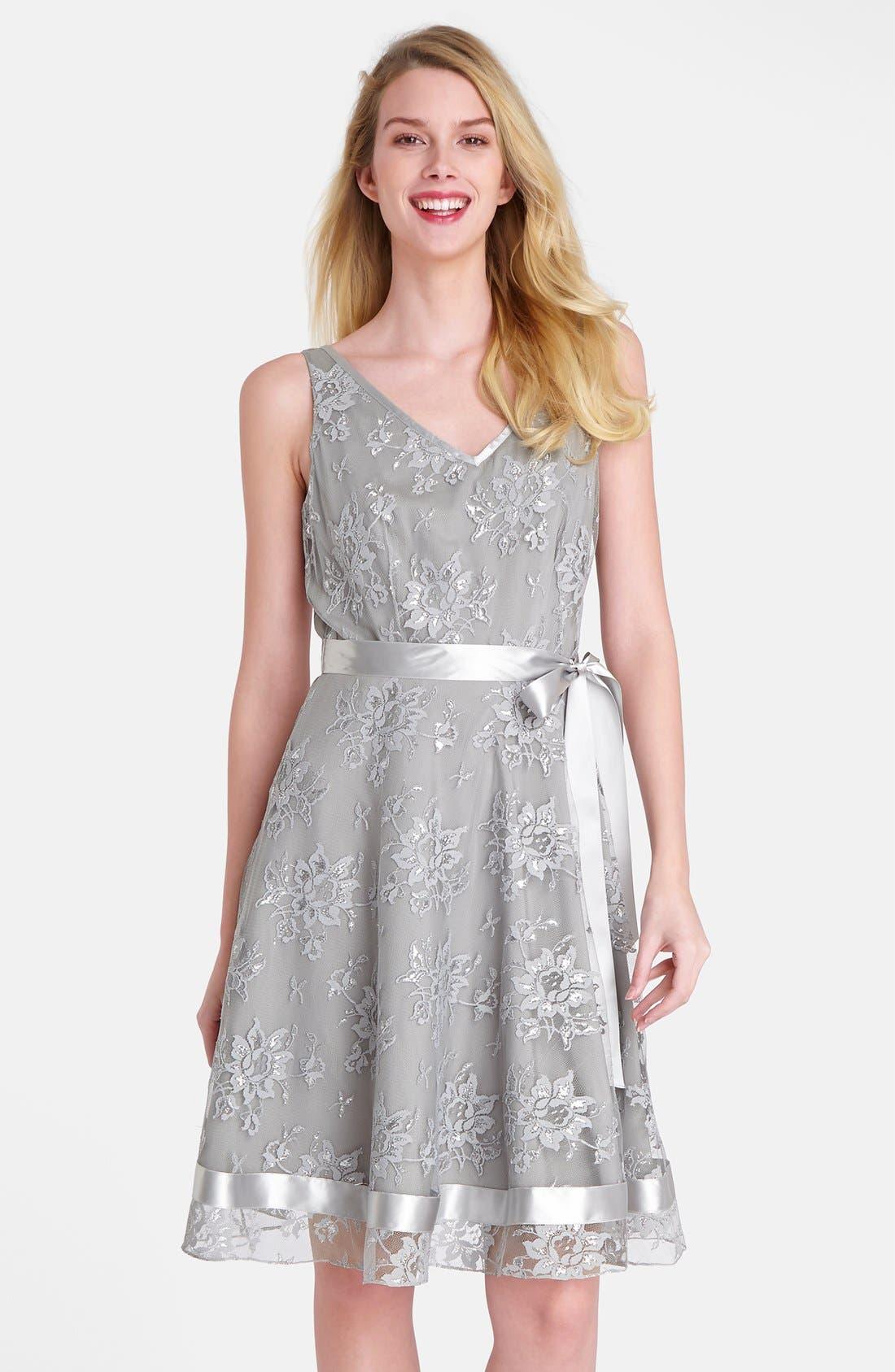 Main Image - Tahari Metallic Lace Fit & Flare Dress