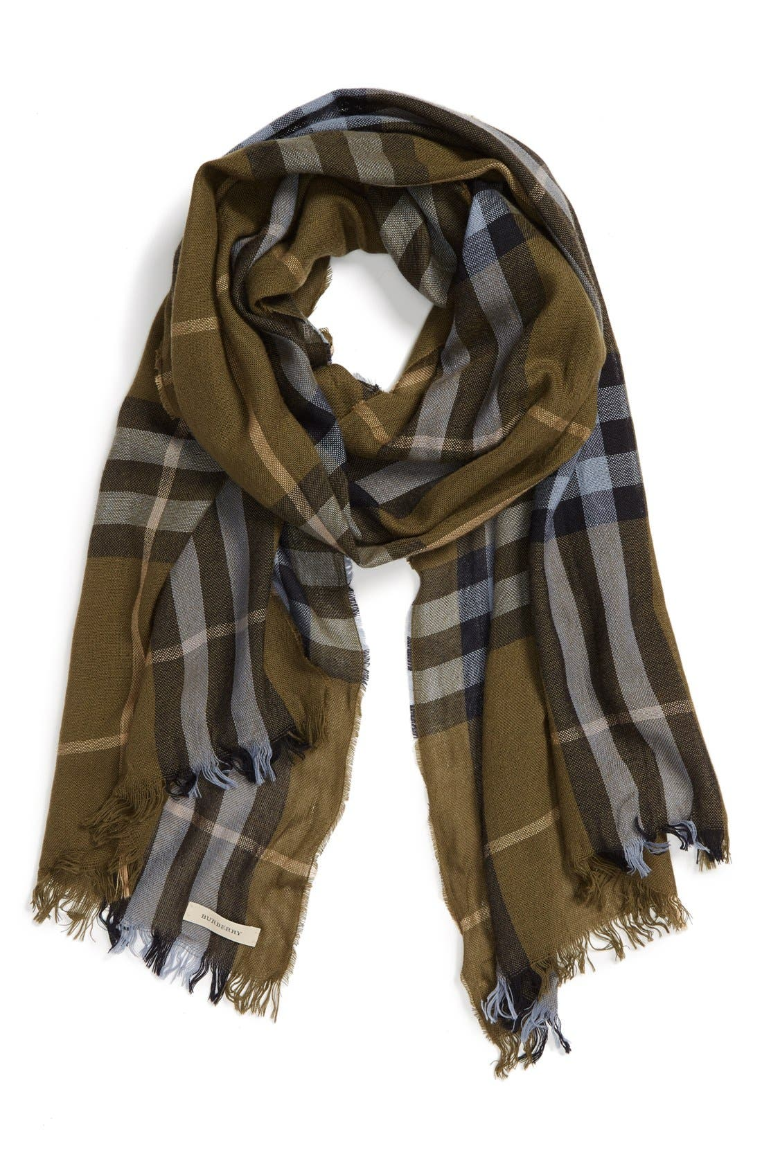 Main Image - Burberry Check Merino Wool & Cashmere Scarf