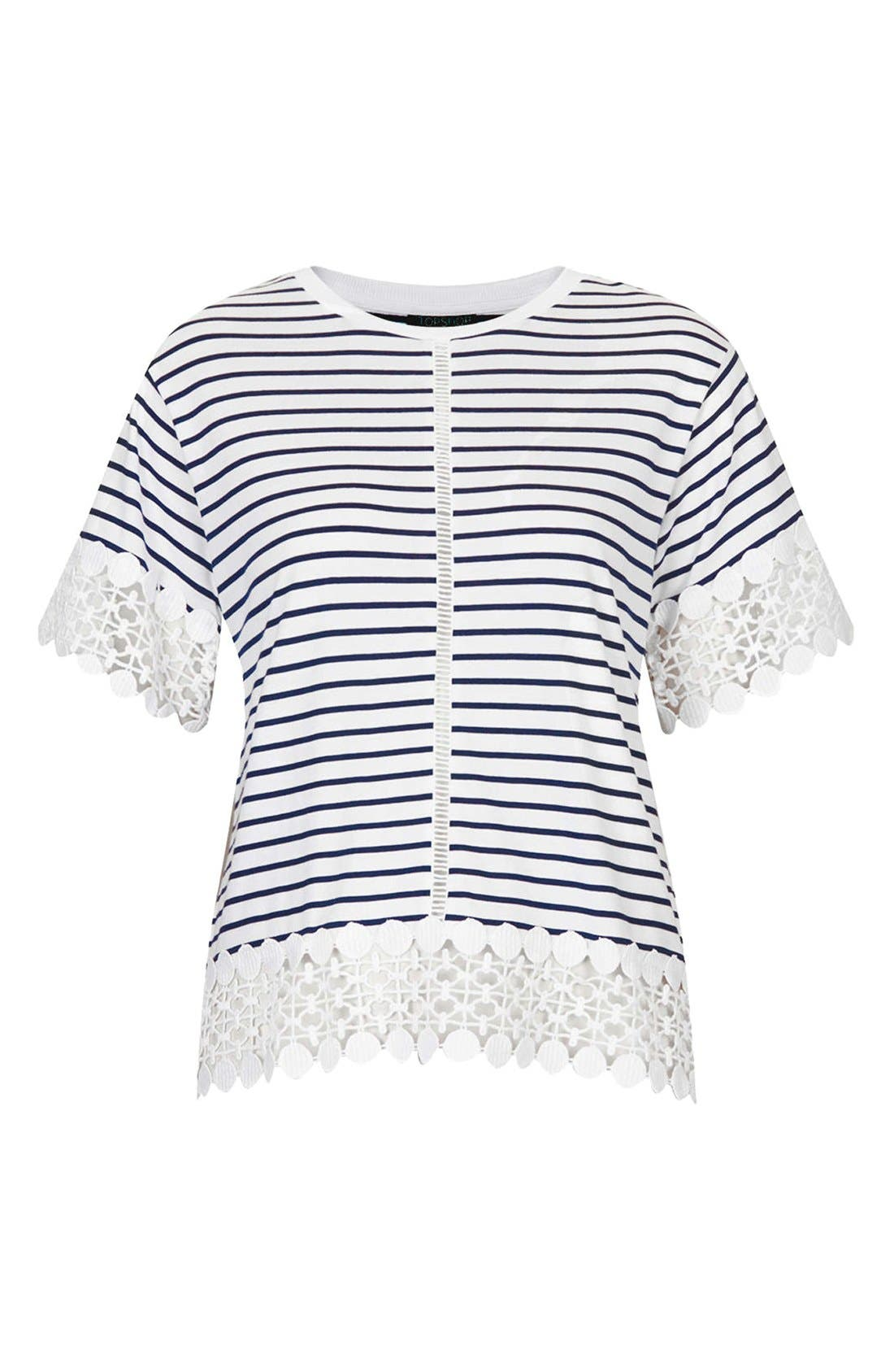 Alternate Image 3  - Topshop Lace Panel Tee