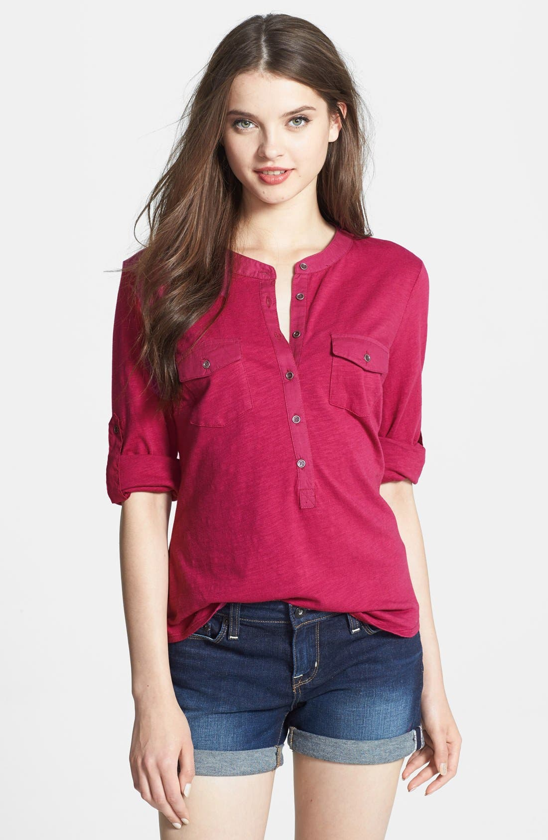 Alternate Image 1 Selected - Sandra Ingrish Roll Sleeve Slub Knit Top (Petite)