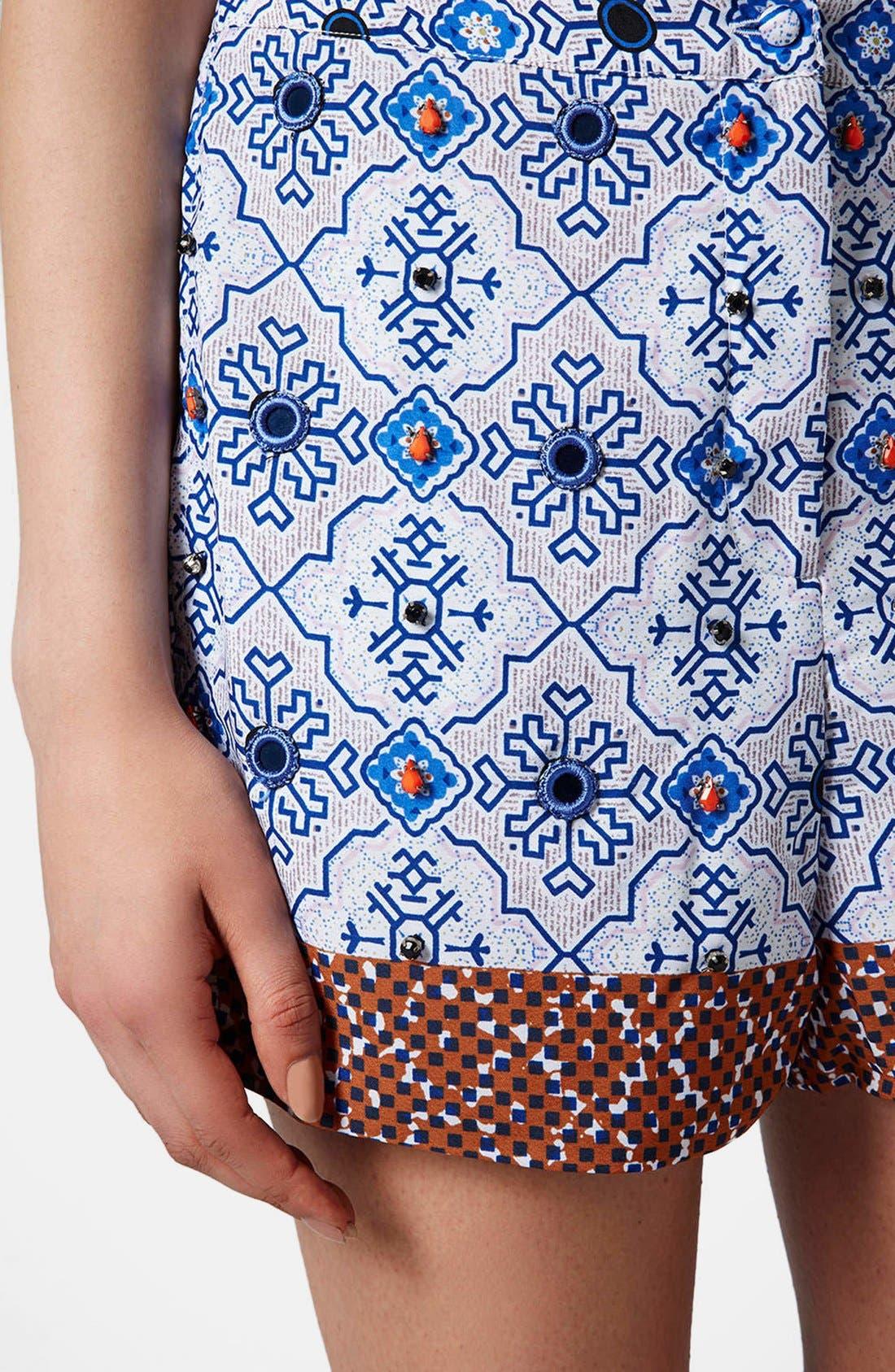 Alternate Image 4  - Topshop Beaded Tile Shorts