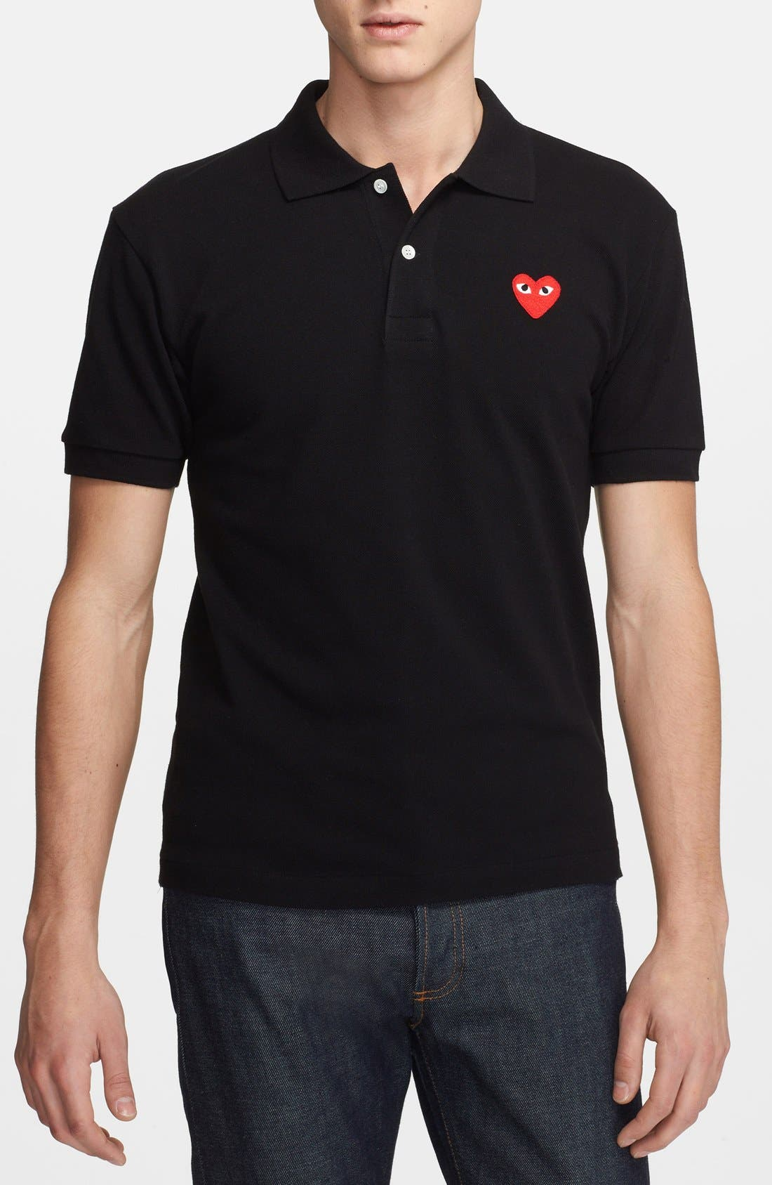 Alternate Image 1 Selected - Comme des Garçons PLAY Piqué Polo with Heart Appliqué