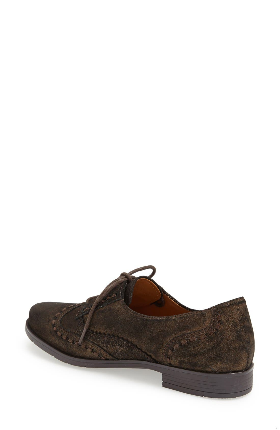 Alternate Image 2  - Earthies® 'Lisbon' Pearlized Suede Lace-Up Flat (Women)