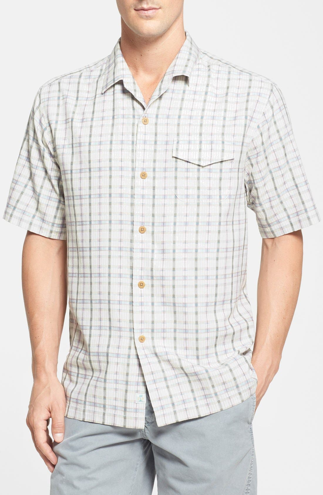 Alternate Image 1 Selected - Tommy Bahama 'Jammin' Plaid' Original Fit Plaid Silk Campshirt