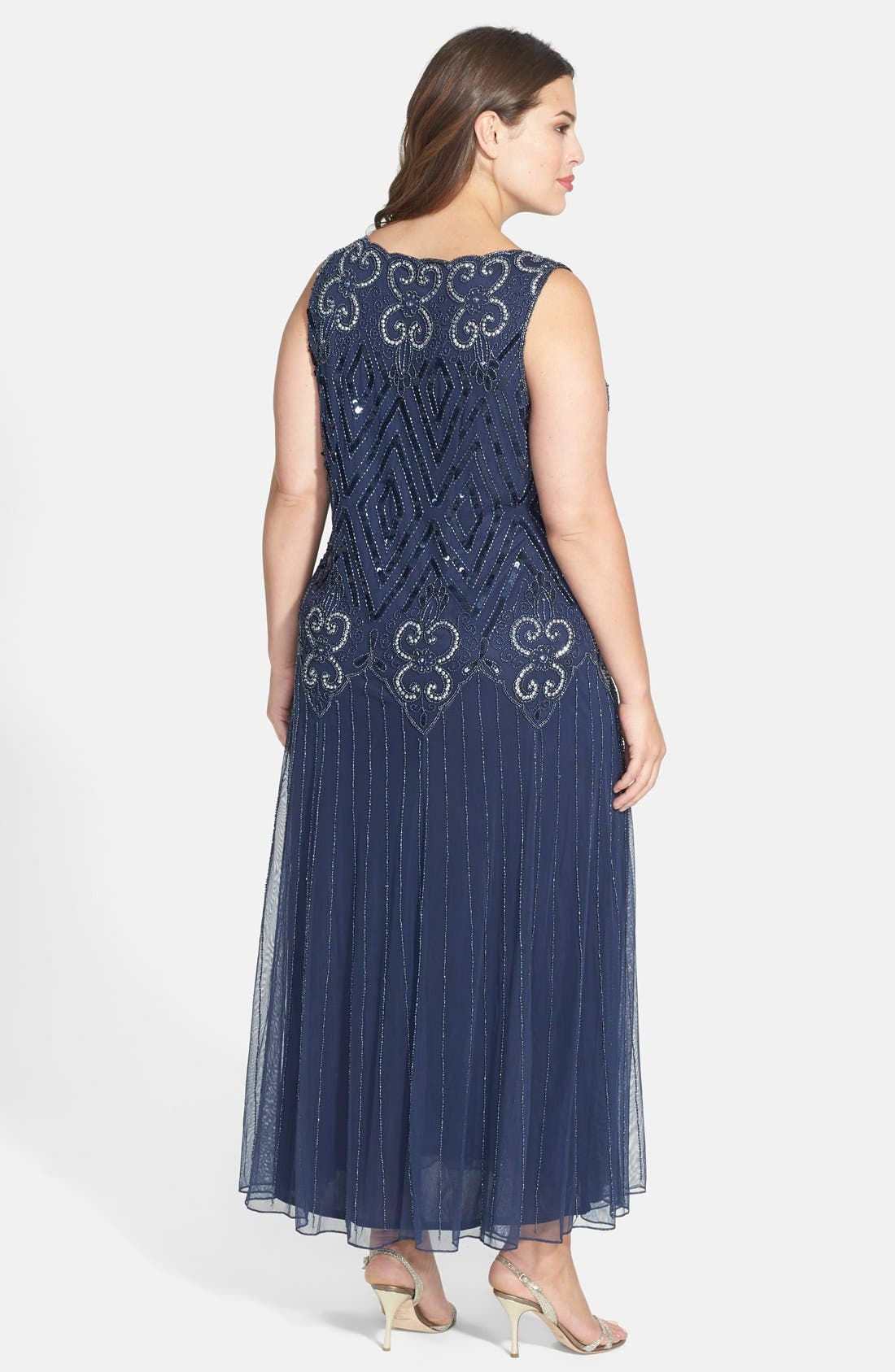 Beaded Chiffon Gown,                             Alternate thumbnail 2, color,                             Navy
