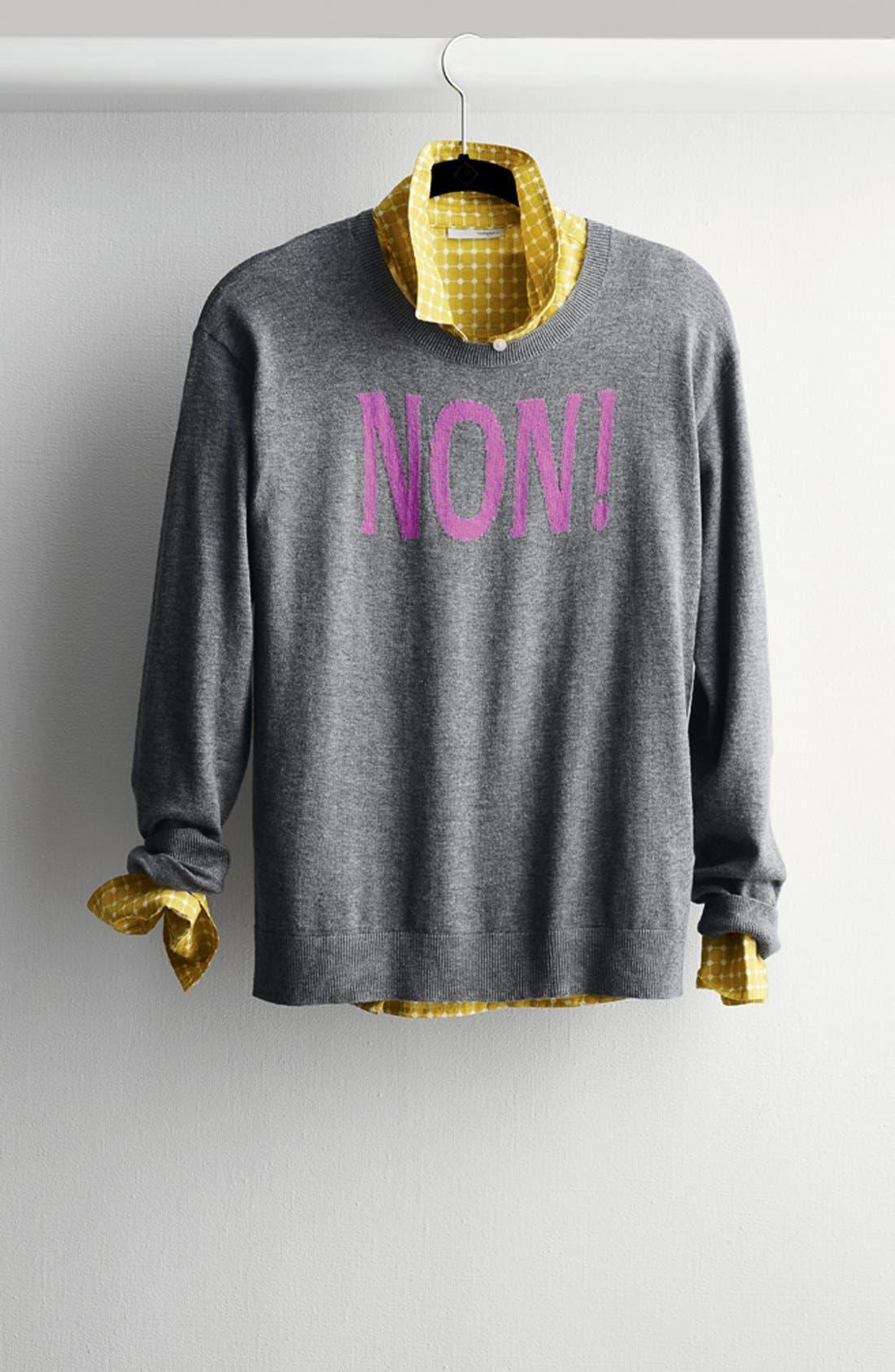 Alternate Image 11  - Halogen® Print Cotton & Silk Shirt (Regular & Petite)
