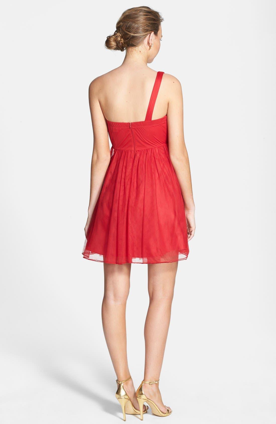 Alternate Image 2  - Sequin Hearts Single Shoulder Party Dress (Juniors)