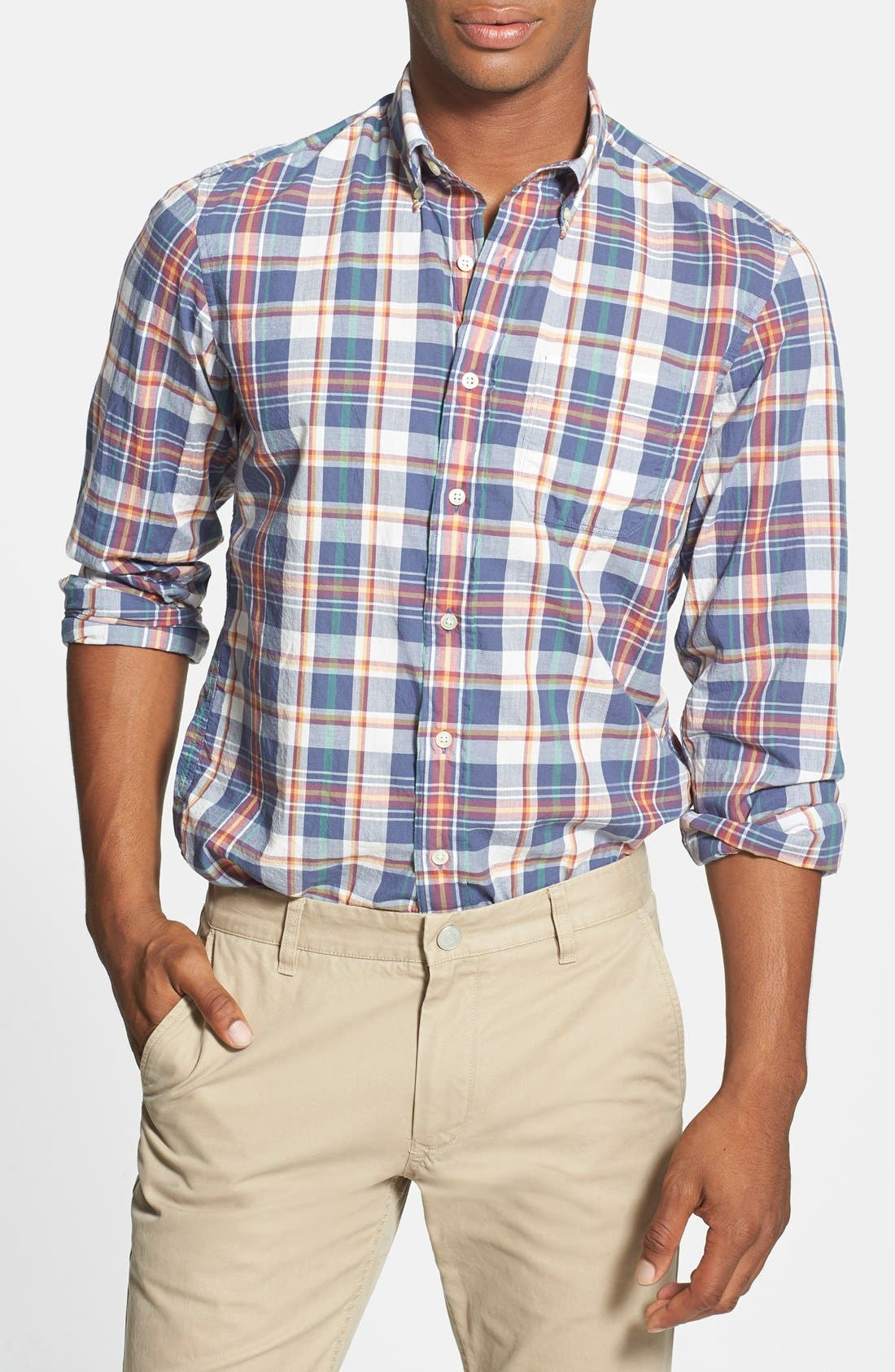 Alternate Image 1 Selected - Gant 'Handloom' Regular Fit Madras Sport Shirt