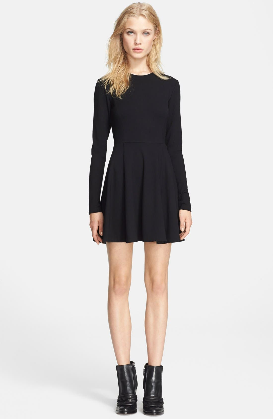 Long sleeve fit and flare cocktail dress