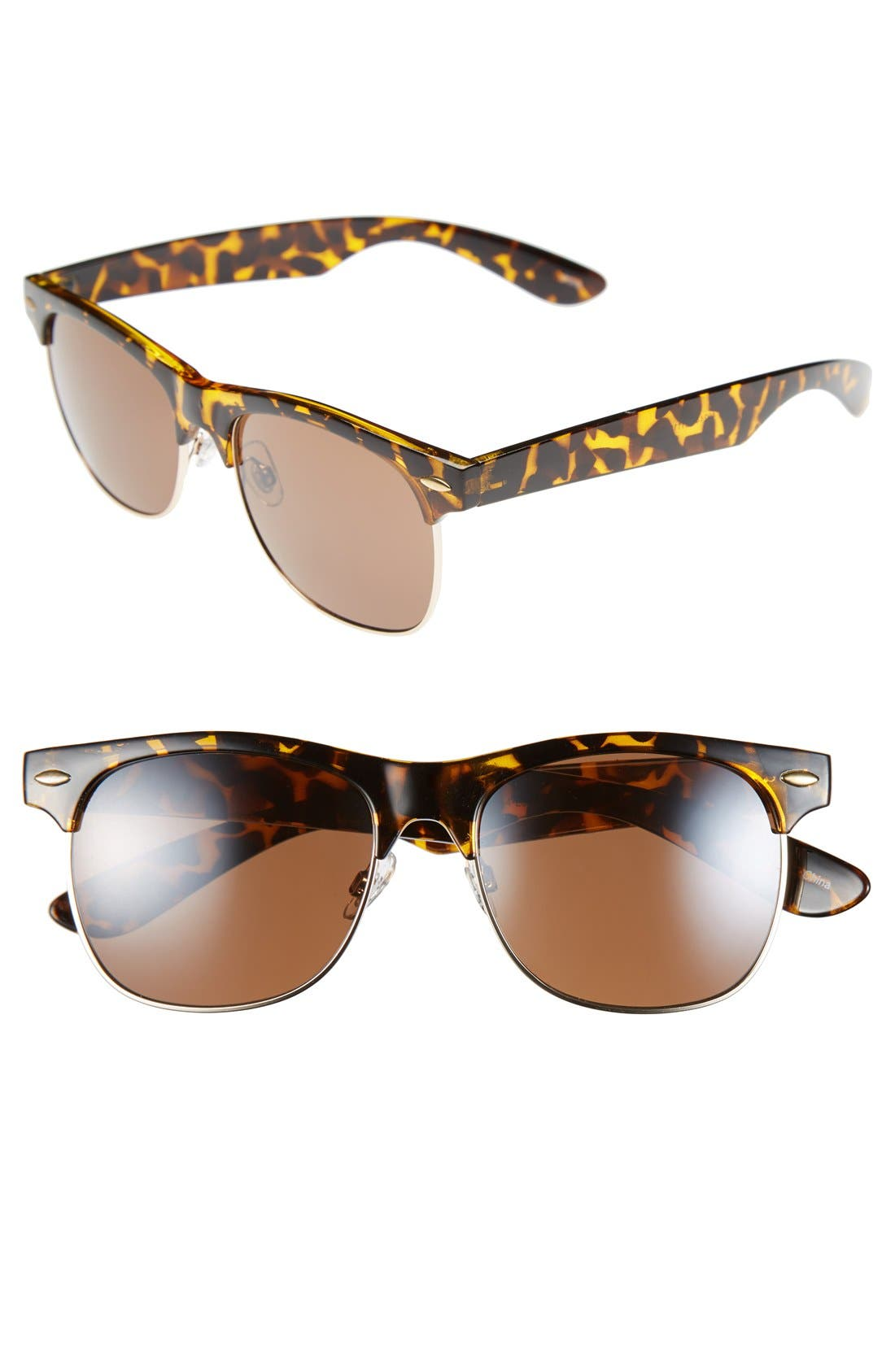 'Gloria' 53mm Retro Half Wire Frame Sunglasses,                         Main,                         color, Tort