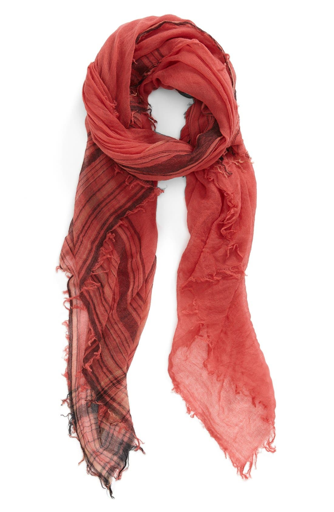 Alternate Image 1 Selected - Halogen® Border Stripe Crinkle Cashmere Scarf