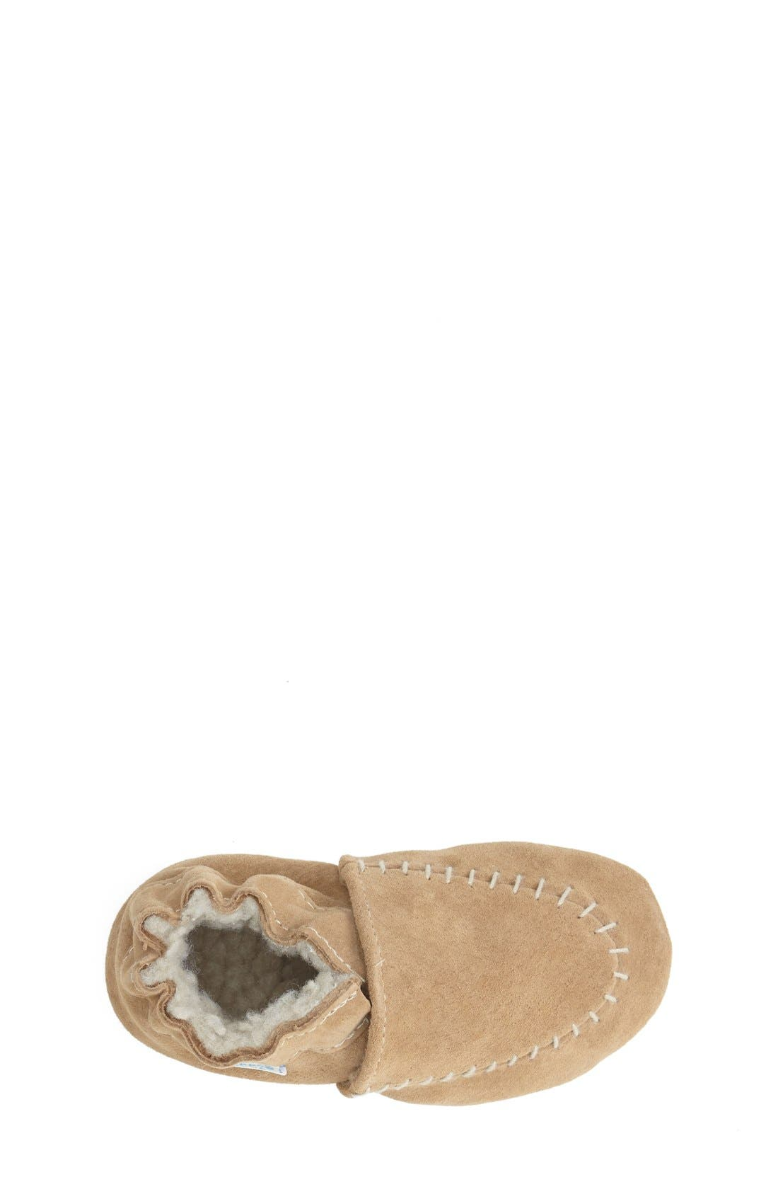 Cozy Moccasin Crib Shoe,                             Alternate thumbnail 3, color,                             Taupe