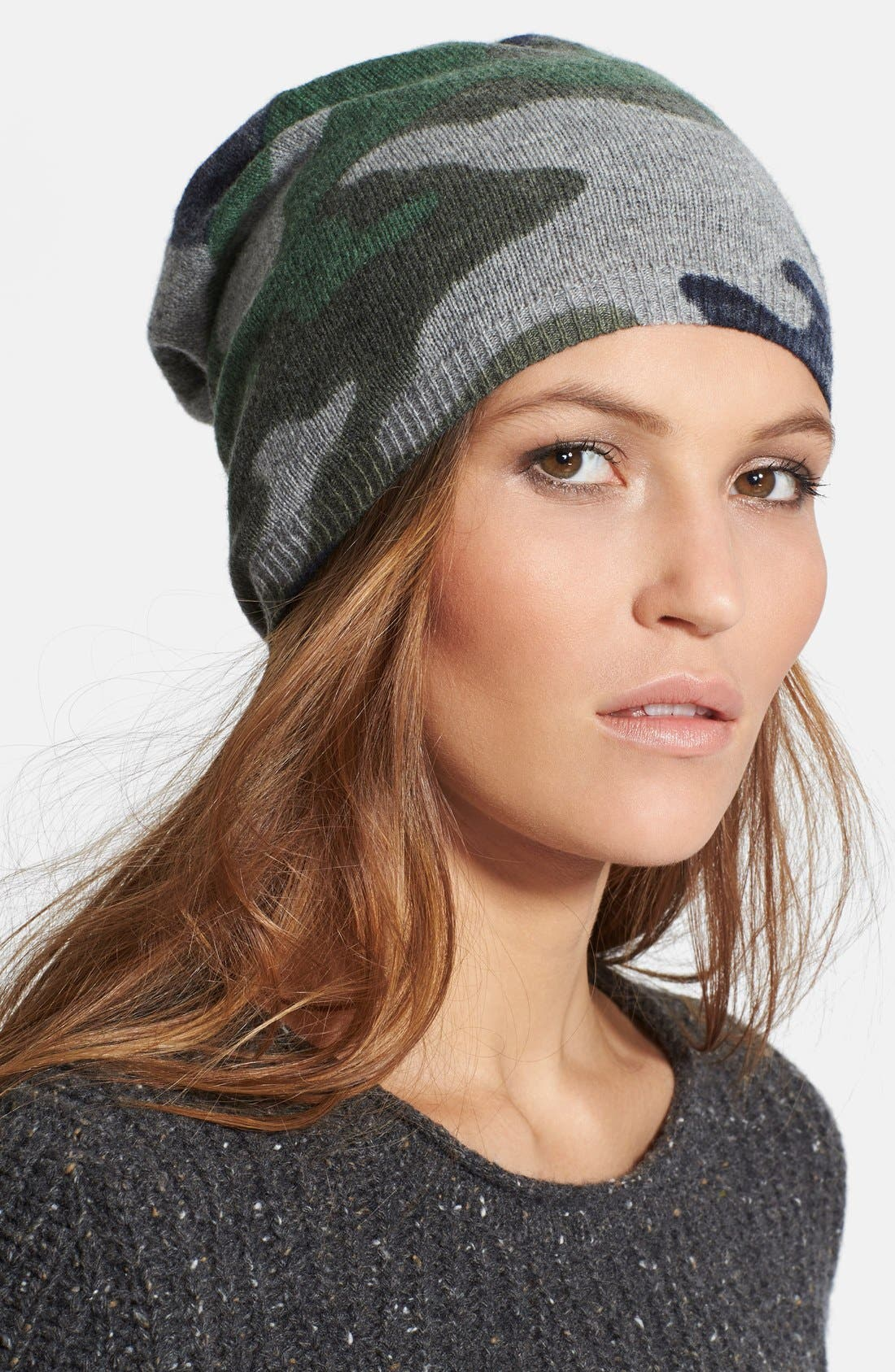 Alternate Image 1 Selected - autumn cashmere Camo Cashmere Beanie