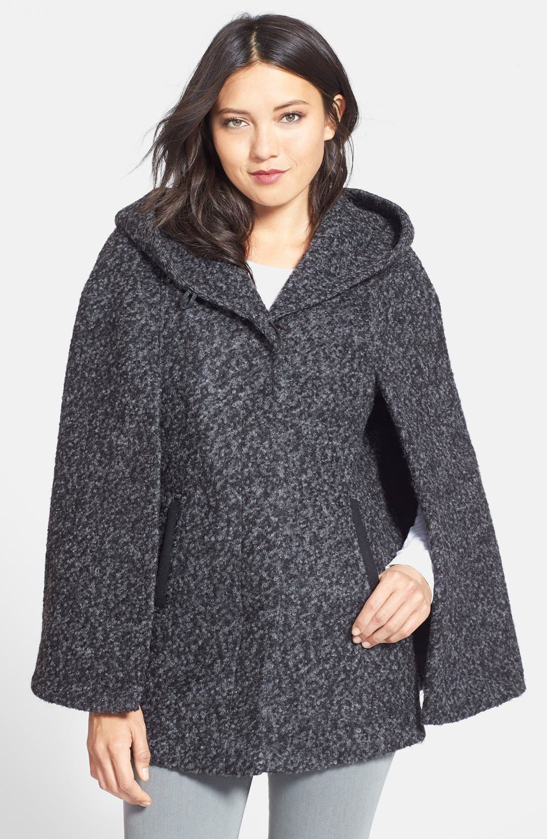 Hooded Cape,                         Main,                         color, Black