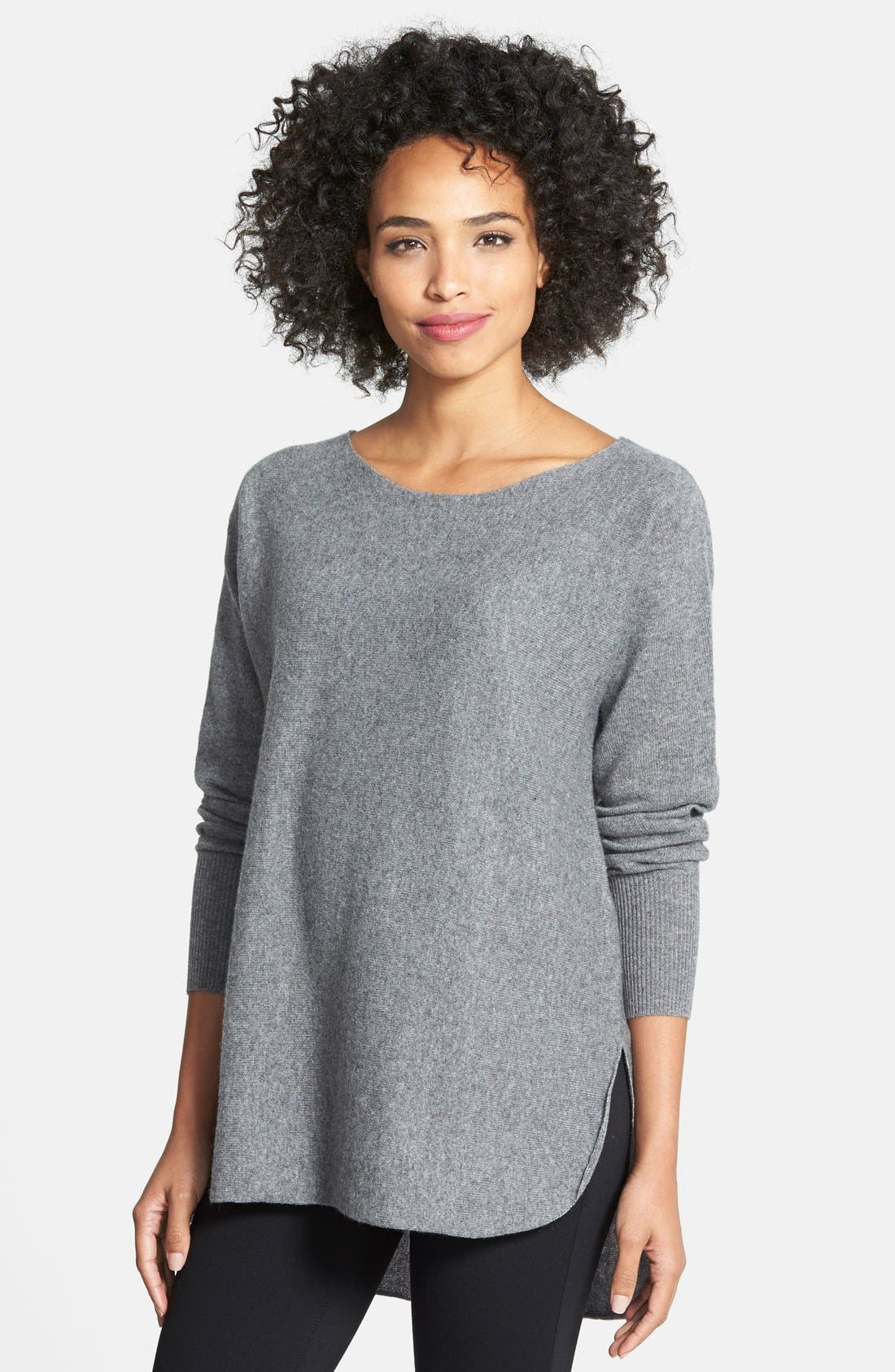 Alternate Image 1 Selected - Halogen® Cashmere Shirttail Sweater (Regular & Petite)