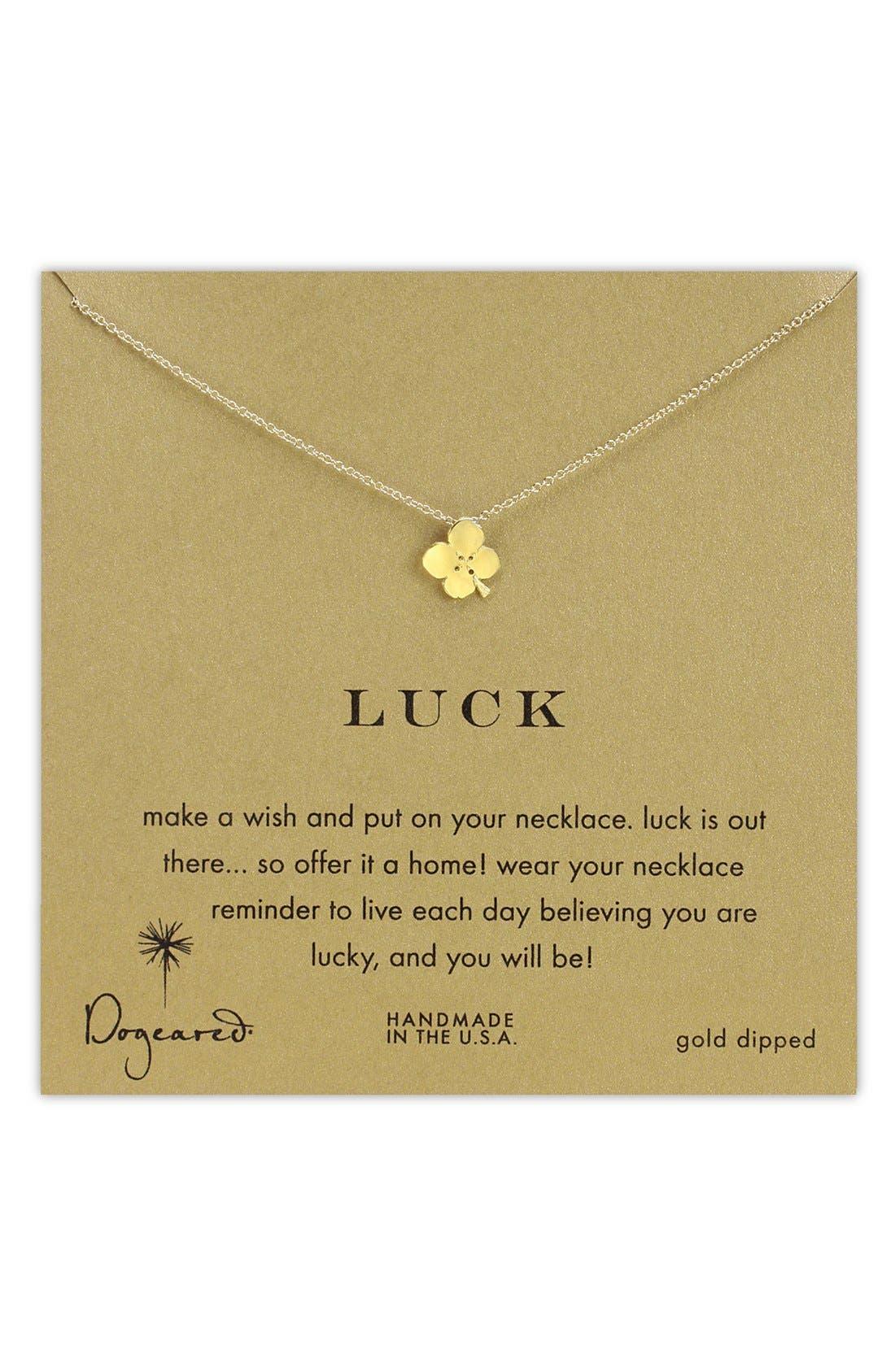 Main Image - Dogeared 'Luck' Clover Pendant Necklace