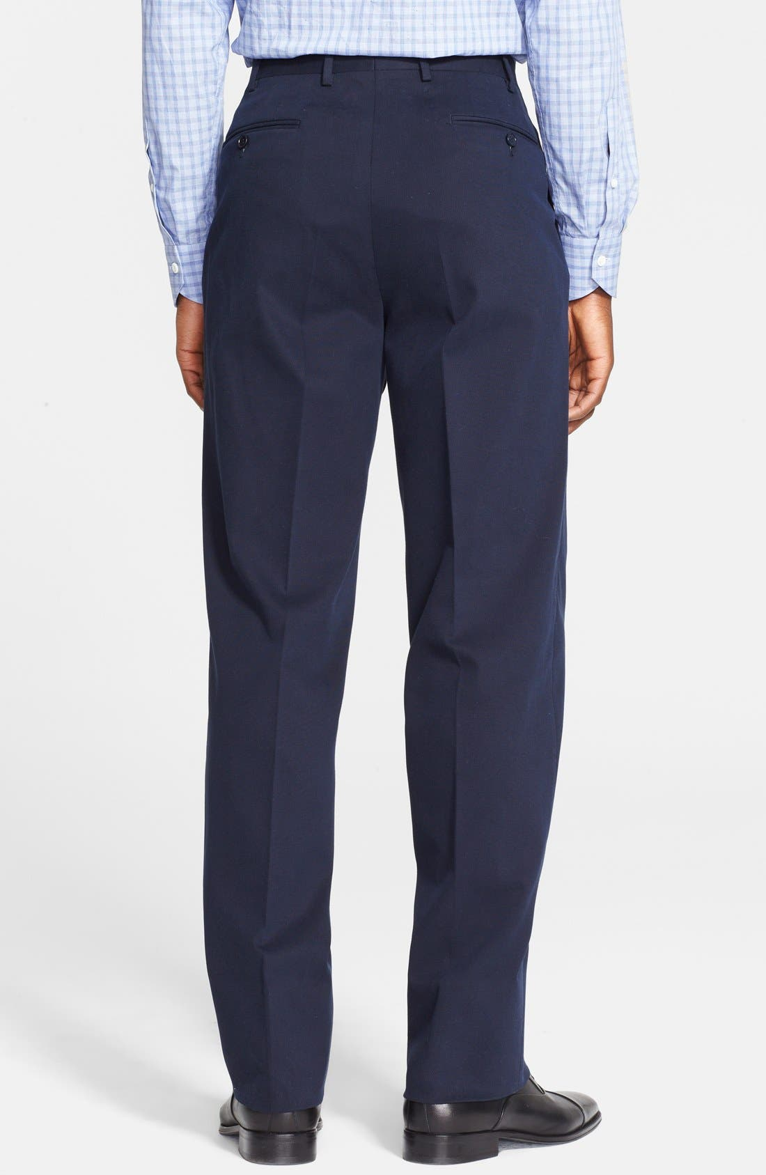 Alternate Image 3  - Canali Flat Front Stretch Cotton Trousers
