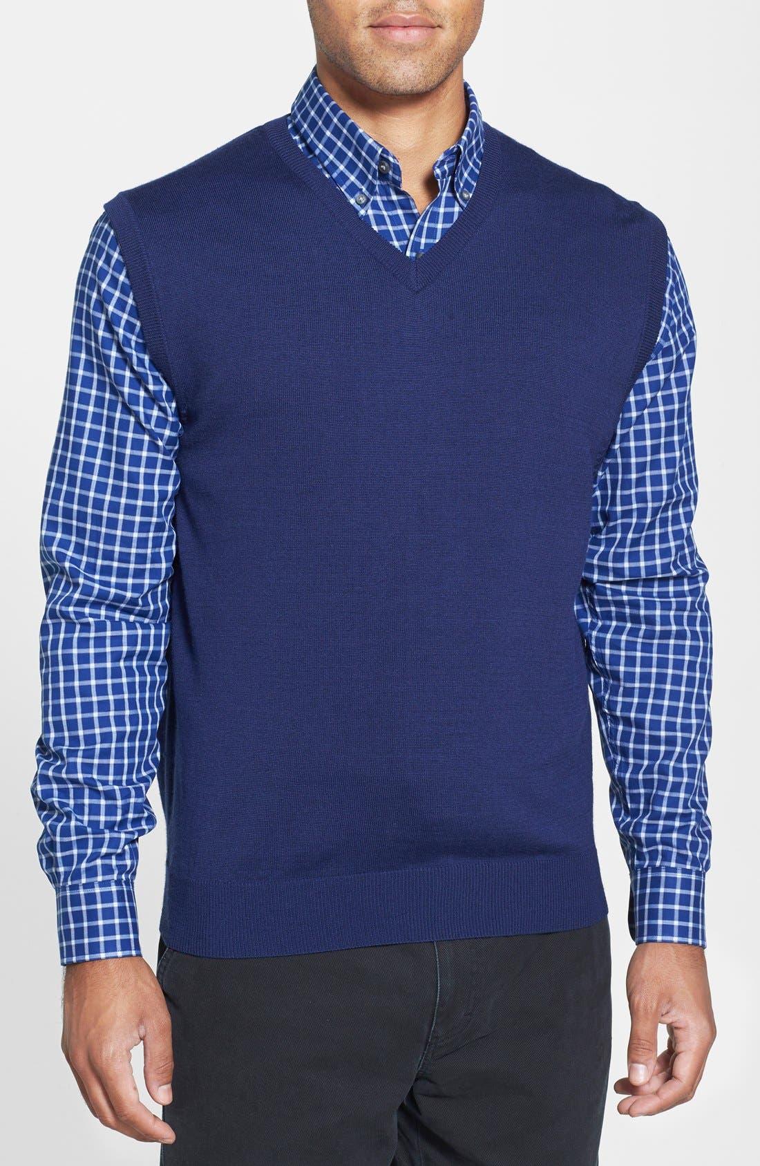 'Douglas' Merino Wool Blend V-Neck Sweater Vest,                             Main thumbnail 1, color,                             Ballpoint Blue