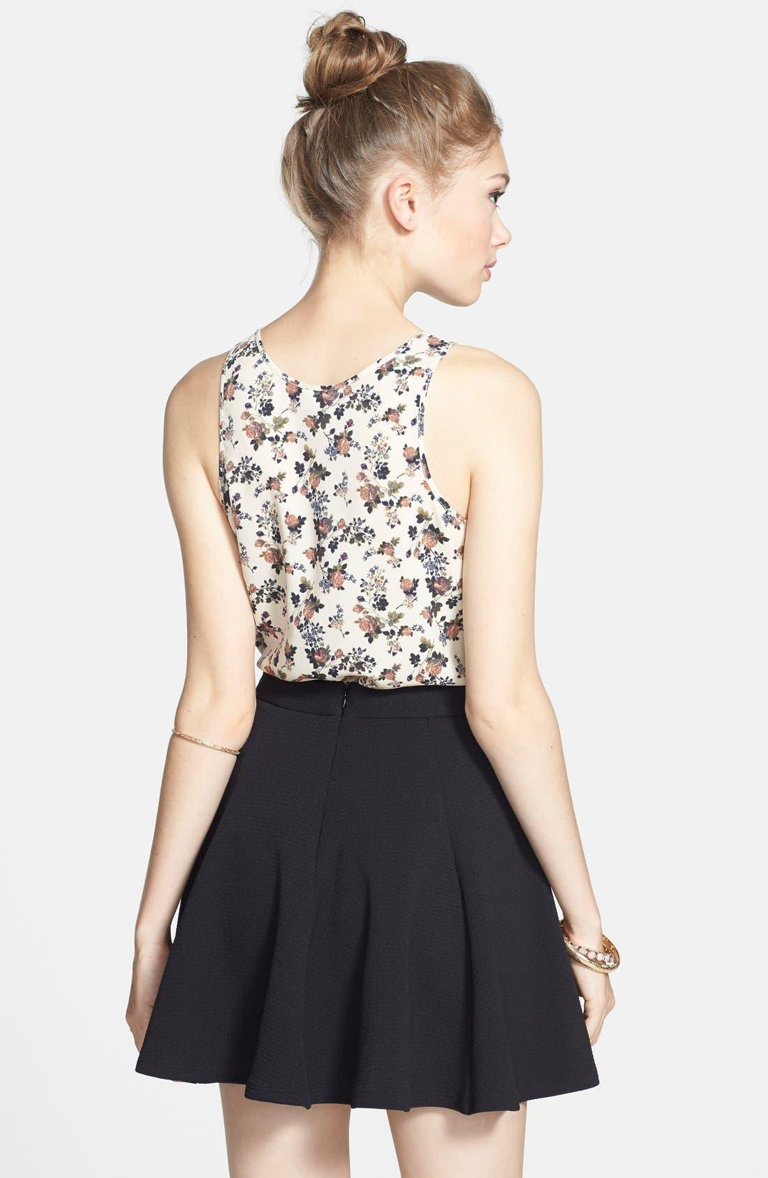 Textured Skater Skirt,                             Alternate thumbnail 2, color,                             Black