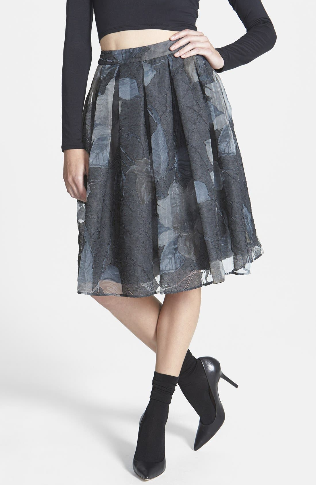 Main Image - ASTR Floral Jacquard Midi Skirt