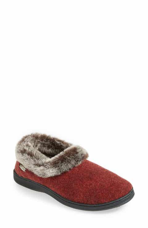 Acorn Chinchilla Collar Faux Fur Slipper Women
