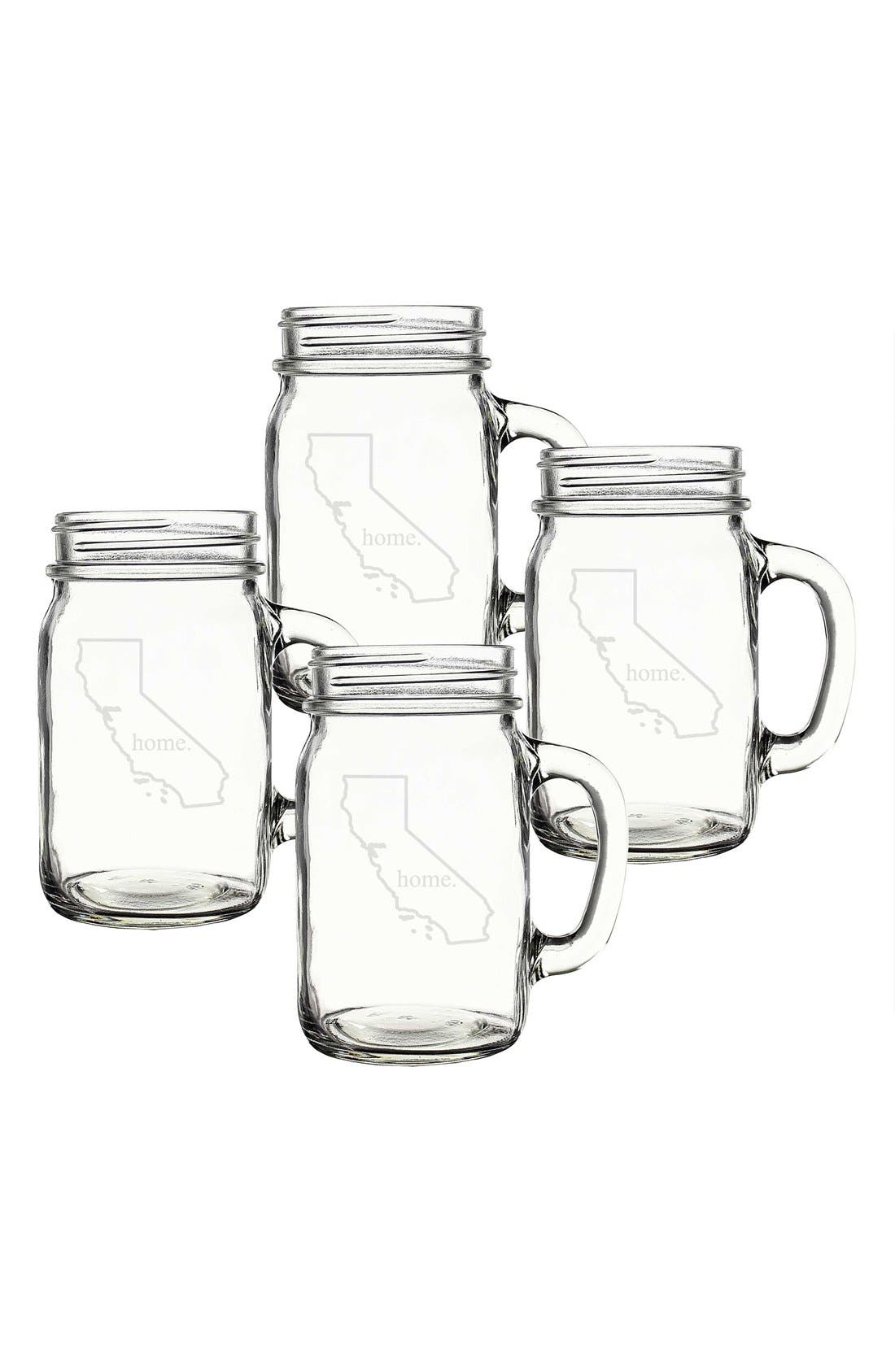 Alternate Image 1 Selected - Cathy's Concepts 'Home State' Glass Drinking Jars with Handles (Set of 4)