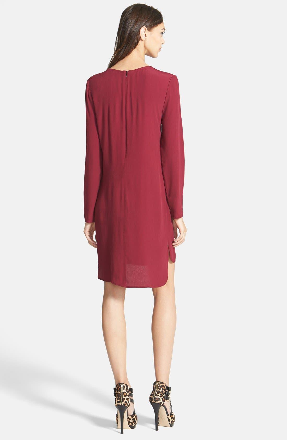 Alternate Image 2  - WAYF Long Sleeve Crepe Shift Dress