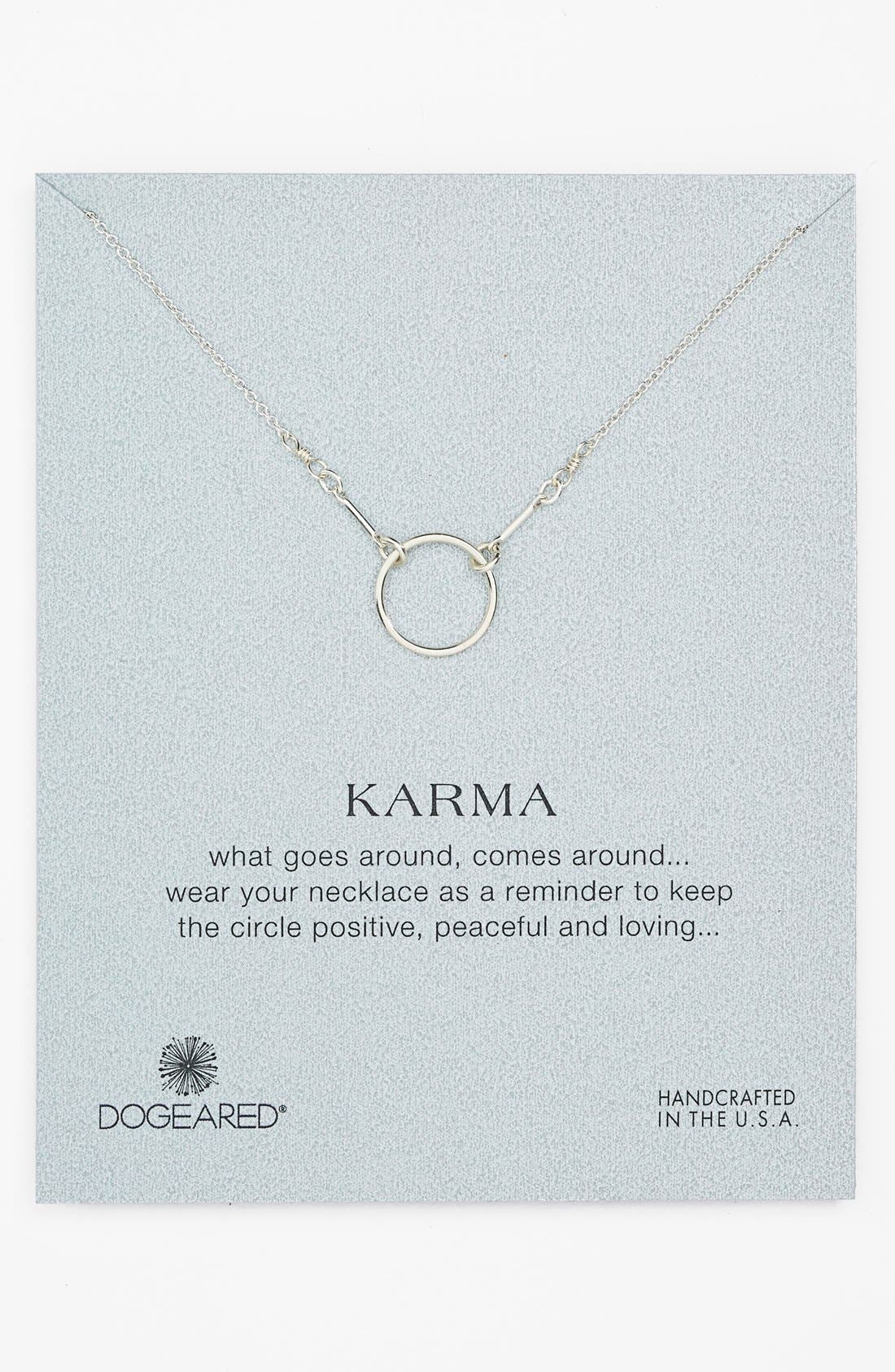 'Reminder - Karma' Pendant Necklace,                         Main,                         color, Silver Circle