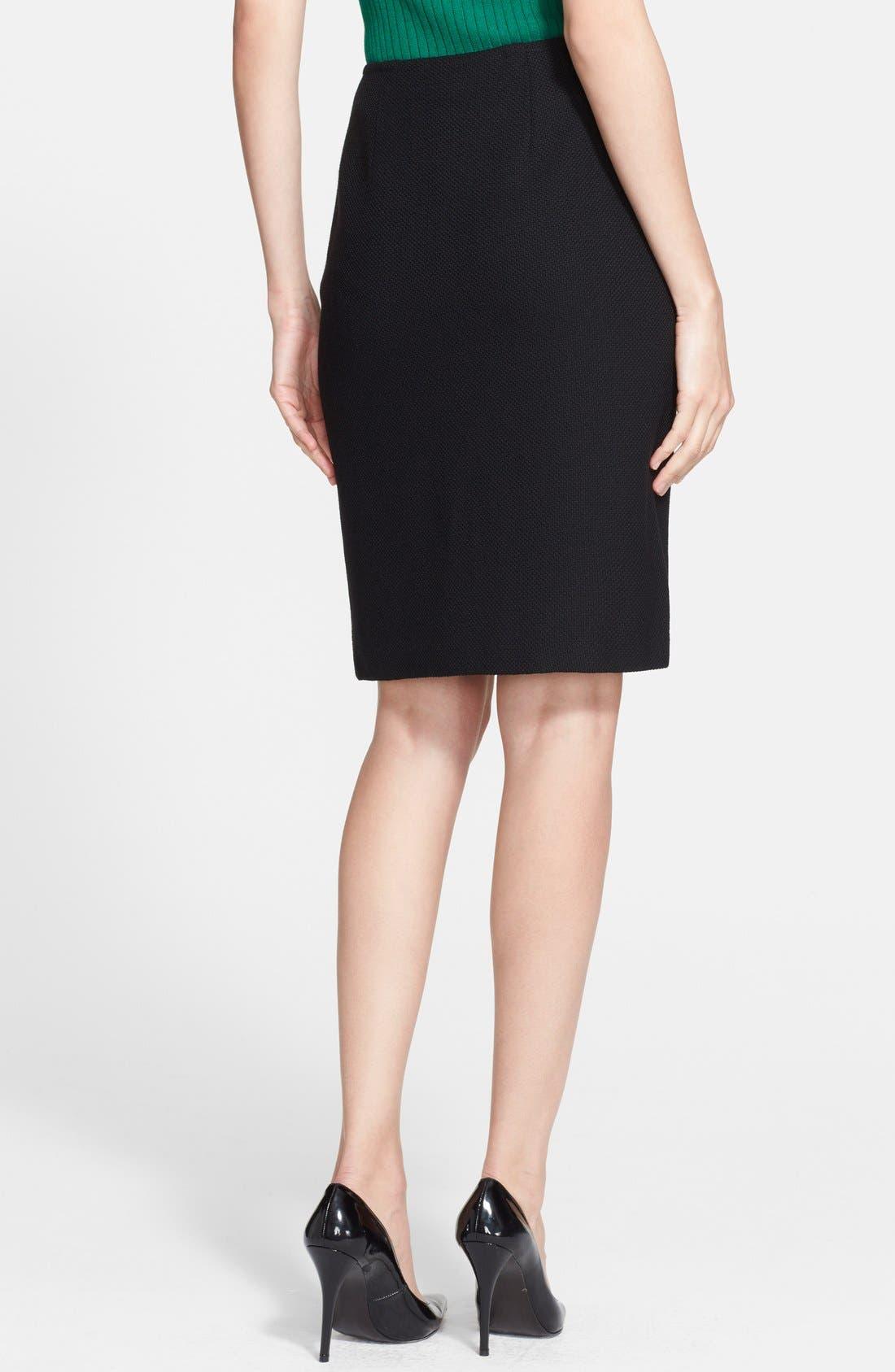 Nouveau Bouclé Knit Skirt,                             Alternate thumbnail 2, color,                             Caviar